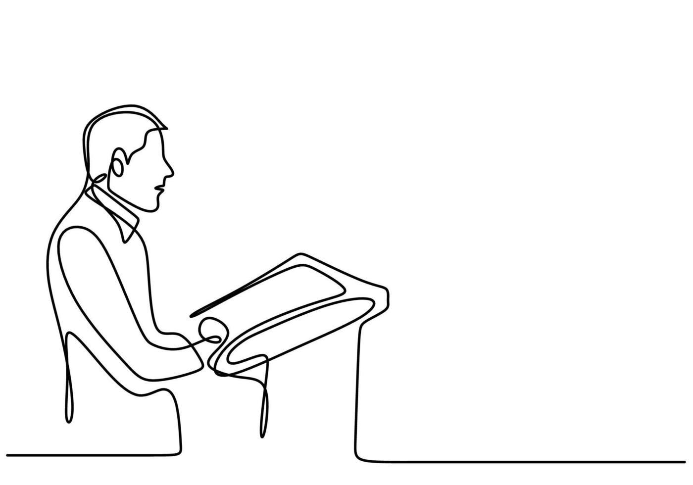 uma política de caráter contínua de linha única desenhada de treinador de negócios falando um político fazendo um discurso transmite sua visão e missão. conceito de discurso com um homem no pódio. ilustração vetorial vetor