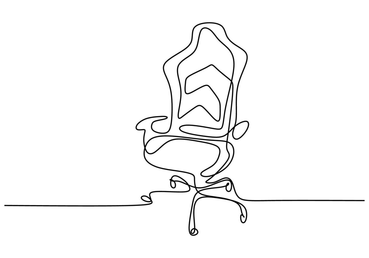 cadeira de escritório de desenho de linha contínua. cadeira de trabalho moderna isolada no fundo branco. cadeira de escritório confortável para design minimalista de trabalho. conceito de interior de escritório elegante. ilustração vetorial vetor