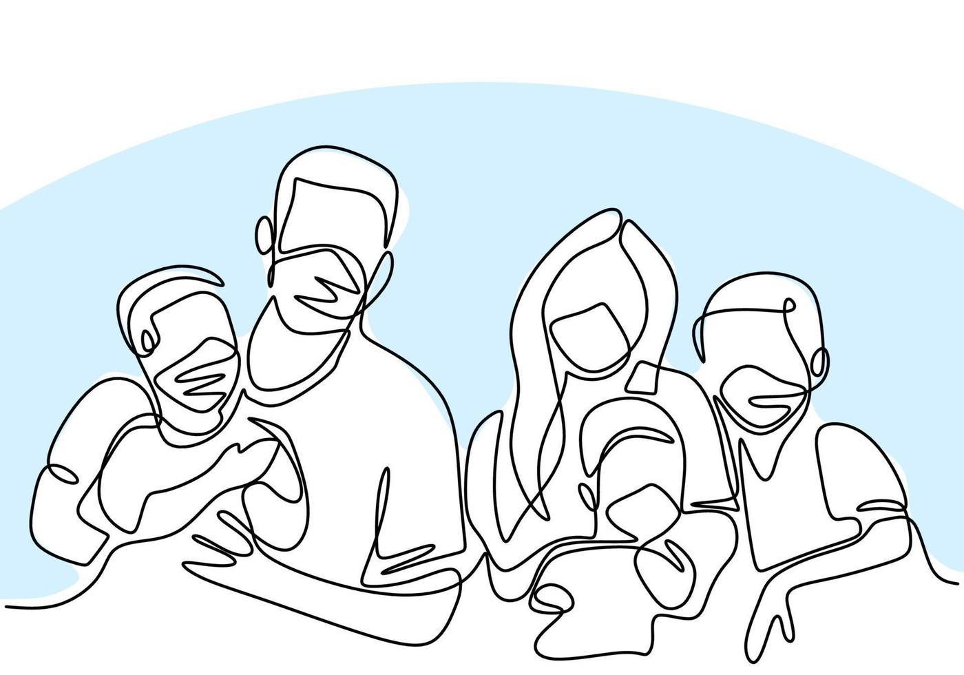 contínuo um desenho de linha de família usando máscaras médicas protetoras e permanecendo em casa durante a pandemia covid-19. vetor