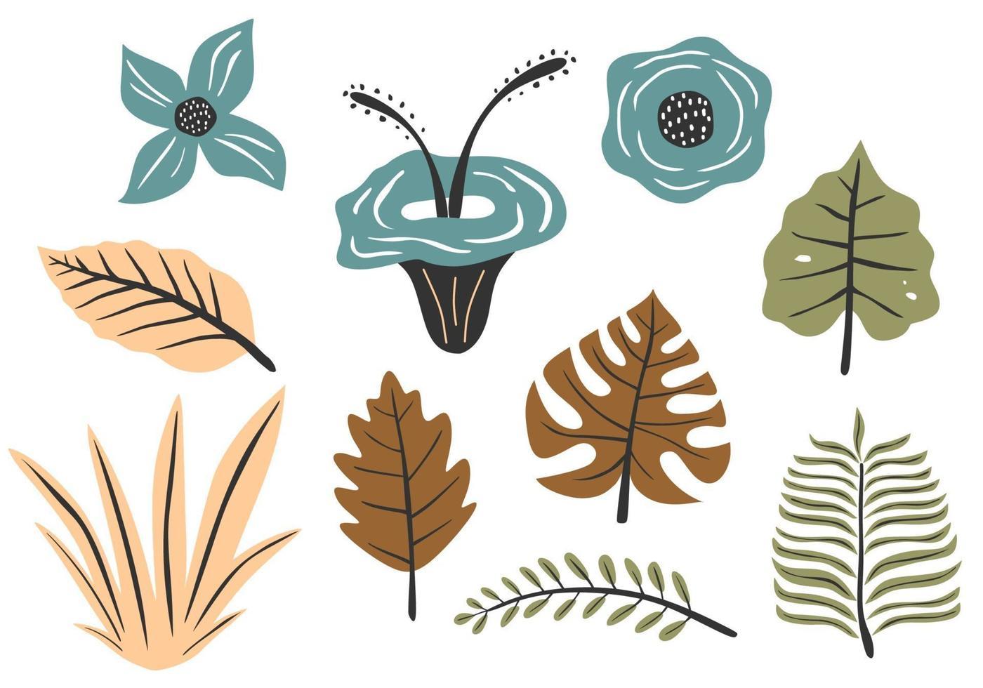 flores e folhas coloridas, textura de floresta vetor