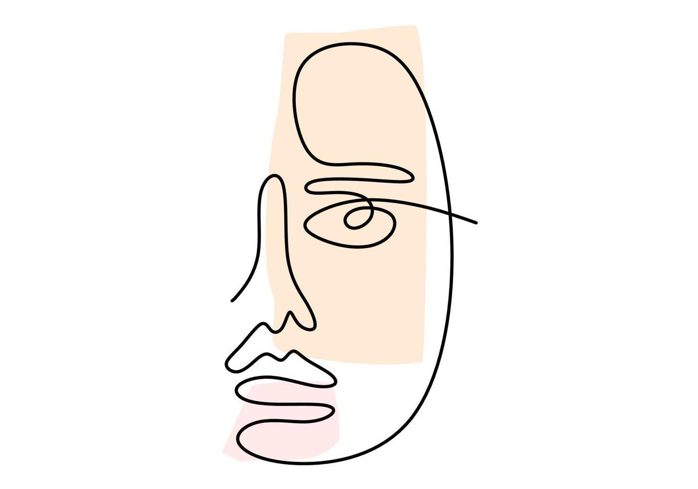 poster abstrato com rosto mínimo de mulher com desenho de linha de uma expressão feliz. vetor