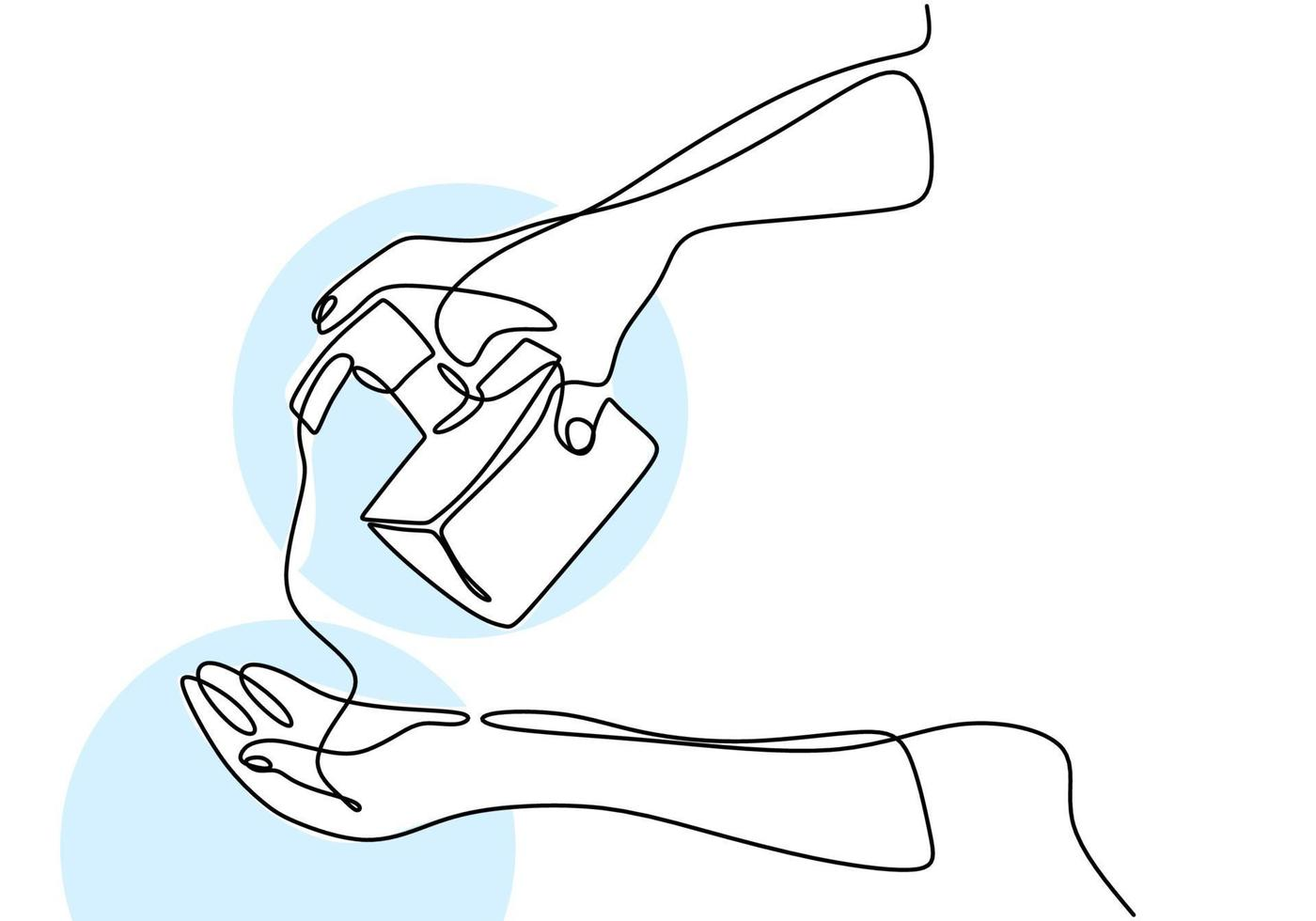 Contínuo um desenho de linha mão segurando líquido sop. desinfetante para as mãos para limpar as mãos e evitar o vírus covid-19. lave sua mão. anti-séptico em frasco isolado no fundo branco vetor