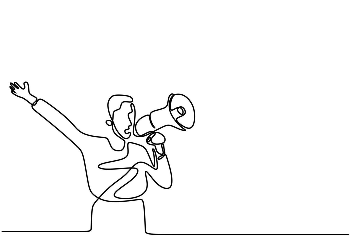 contínua uma linha desenhada um homem falando em um alto-falante. um homem falou animadamente enquanto segurava o megafone. o conceito de anúncio, advertência, oratória, eloqüência, declaração em voz alta, publicidade vetor