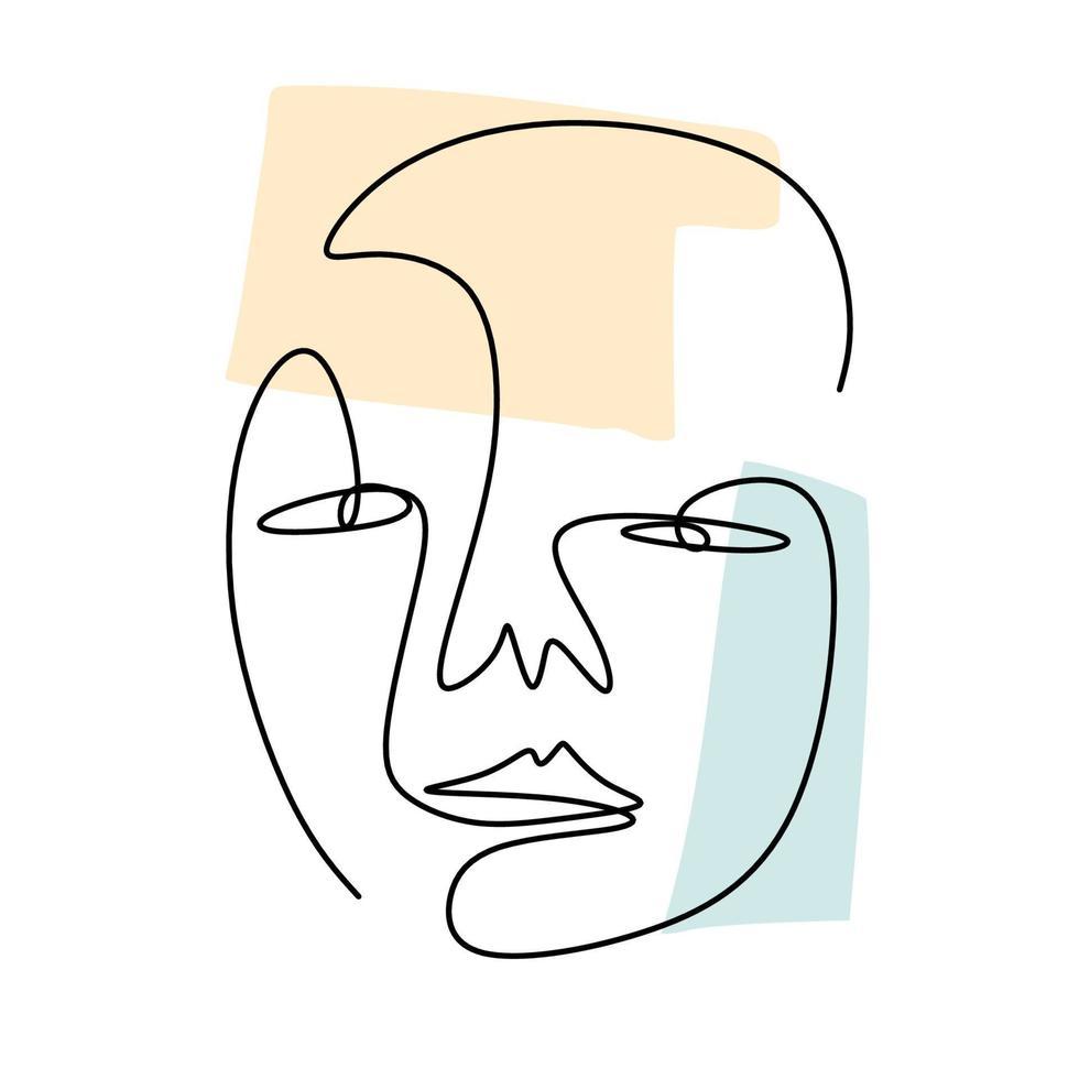 um desenho de linha contínua da face abstrata do humano. moderno linha contínua arte homem e mulher contorno minimalista. vetor