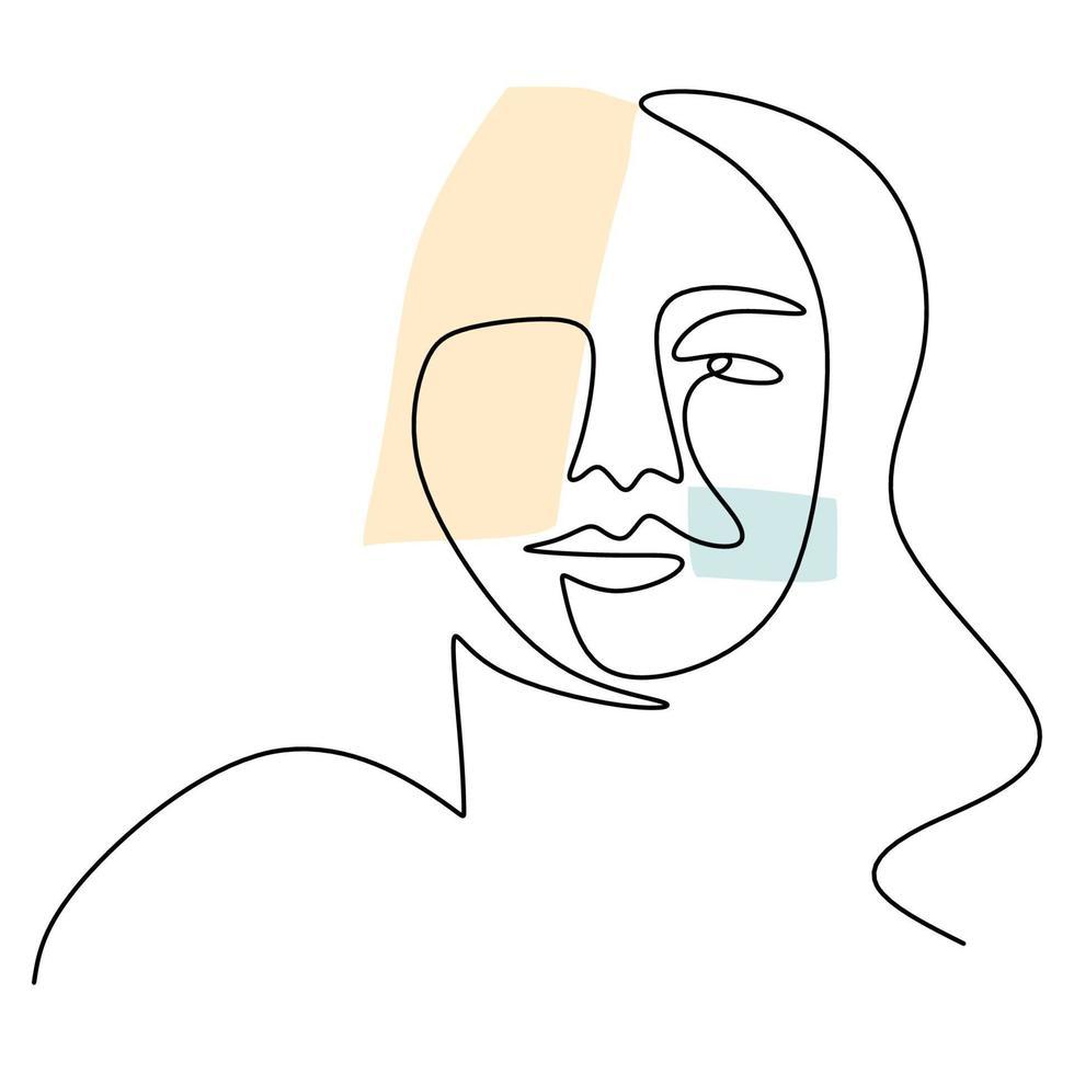 poster abstrato com rosto mínimo de mulher uma arte de linha contínua isolada no fundo branco. vetor