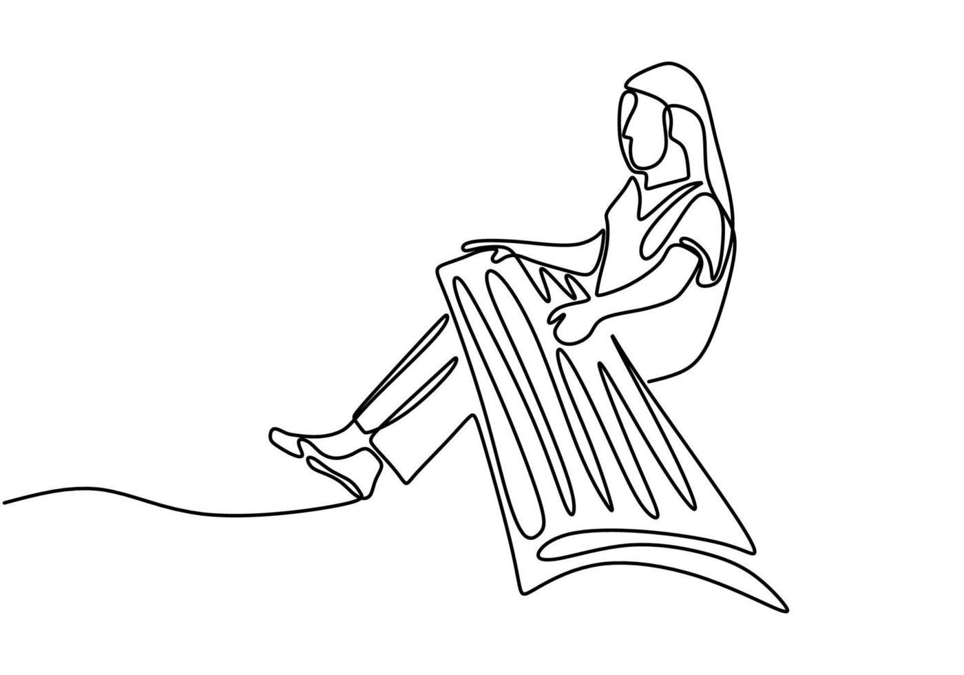 um desenho de linha contínua de mulher com koto, música tradicional japonesa. uma jovem está treinando para tocar música tradicional para preservar a cultura tradicional. vetor