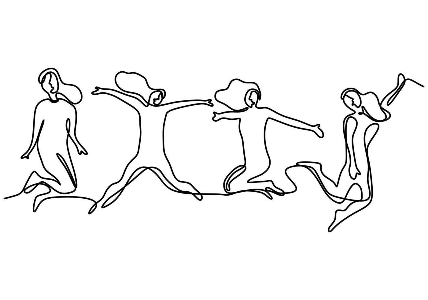 desenho de linha contínua de membros da equipe felizes de salto. quatro jovens saltam juntos para expressar sua felicidade. grupo de quatro pessoas salto e design minimalista de liberdade. ilustração vetorial vetor