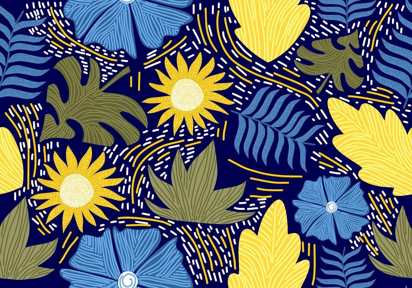 sem costura vintage padrão com flores decorativas. vetor