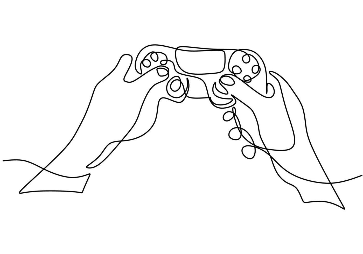 uma única linha contínua de desenho de mãos com joystick. vetor