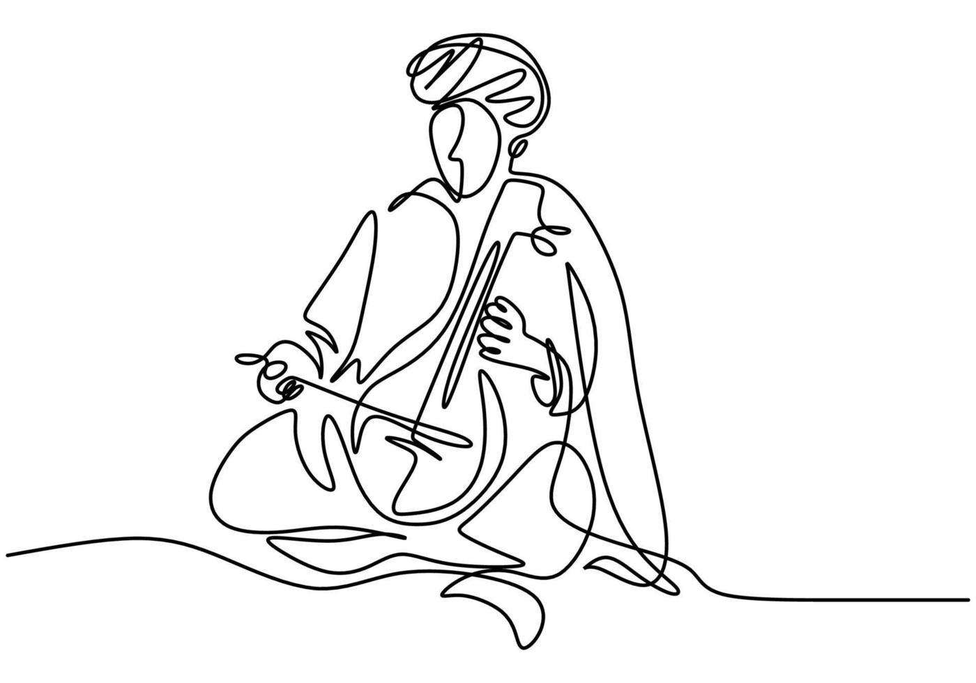 desenho de linha contínua de uma linda mulher tocando um instrumento musical pipa de quatro cordas. conceito de desempenho de música tradicional chinesa. vetor