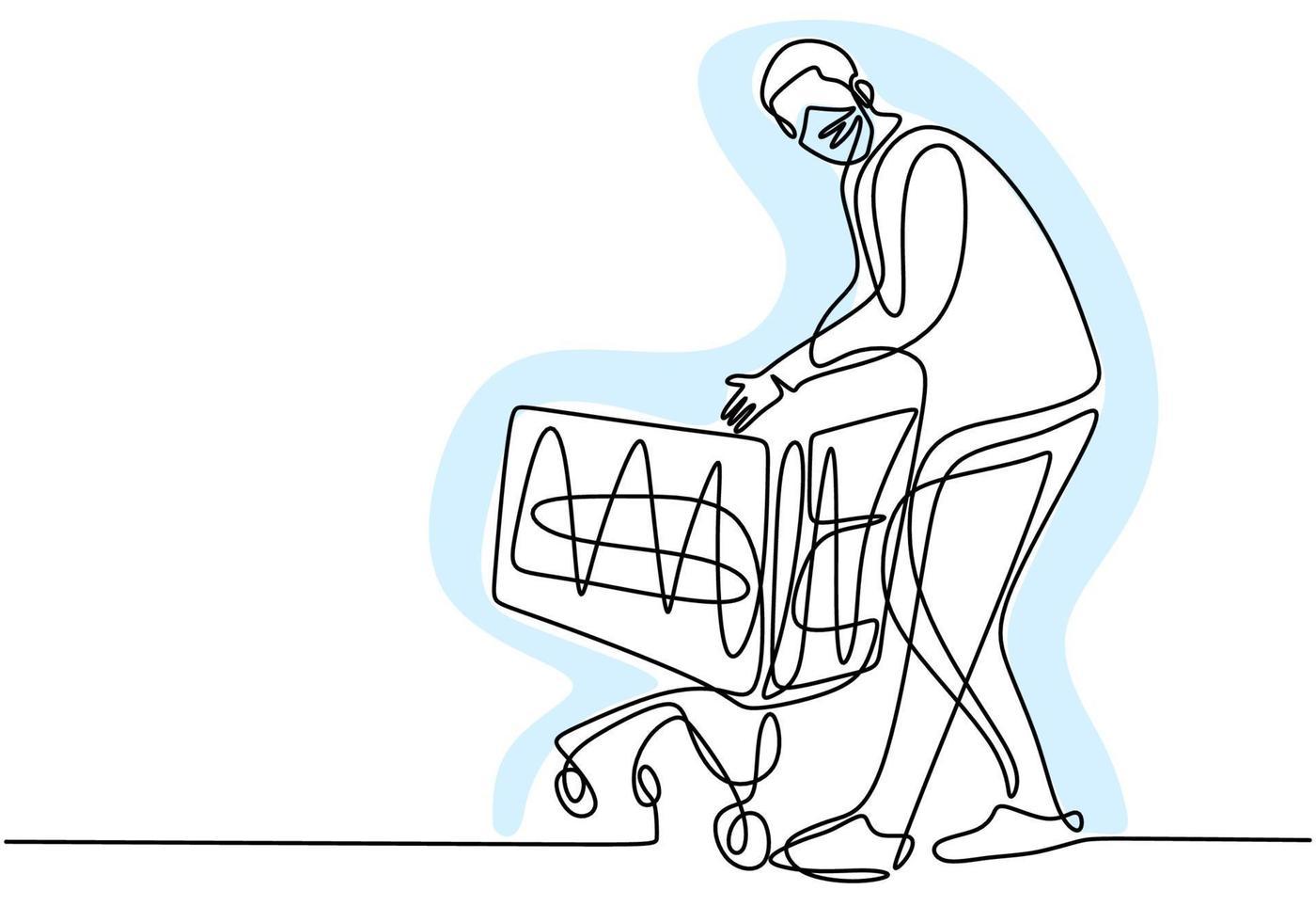 desenho de linha contínua de um homem segurando o carrinho de compras. jovem macho em pé enquanto compra comida no supermercado com máscara protetora para não espalhar covid19. nova transição normal vetor