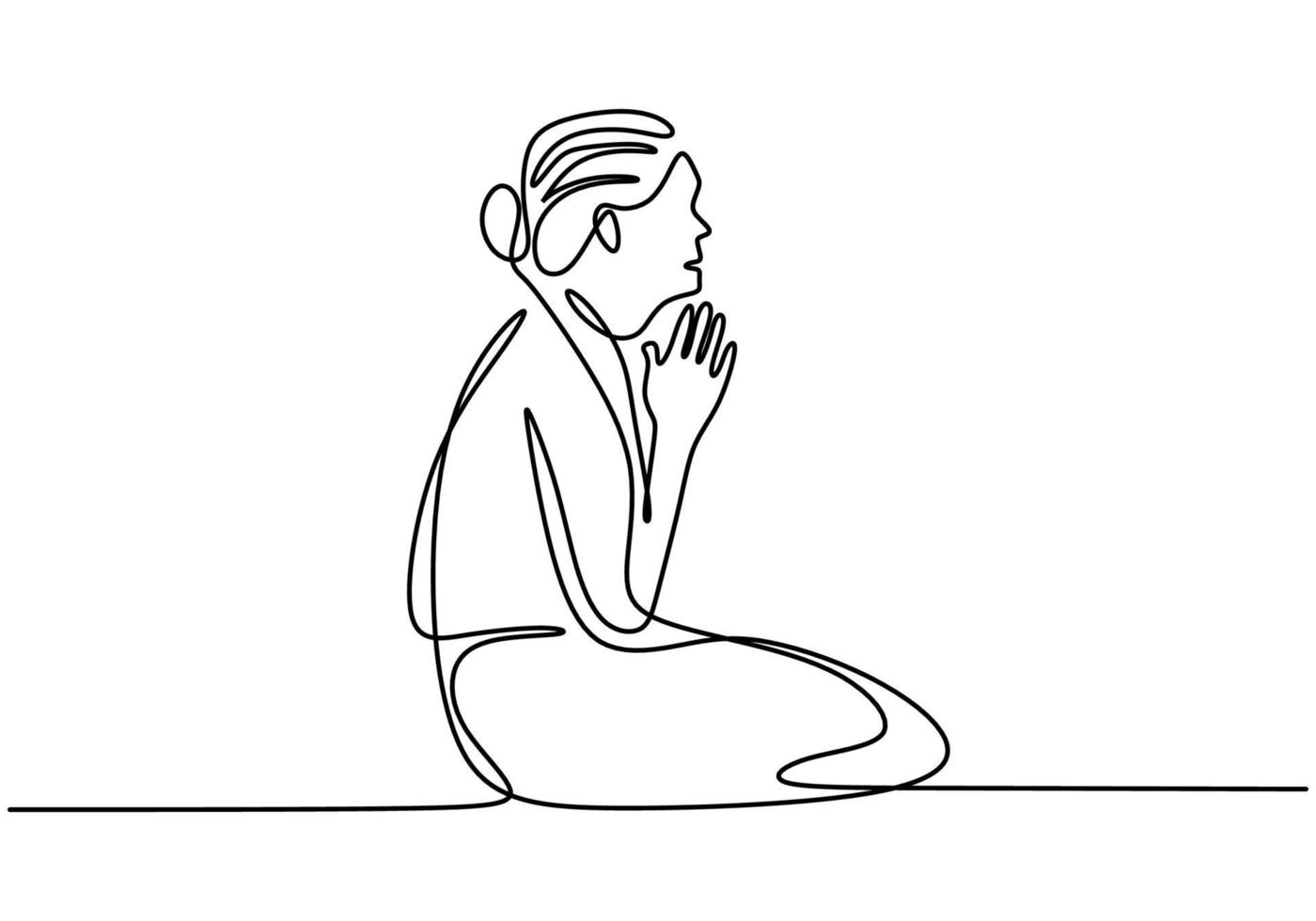 mulher sentada no chão e as mãos postas juntas, como se ela estivesse rezando um desenho de linha contínua isolado no fundo branco. mãos postas em conceito de oração pela fé. ilustração vetorial vetor
