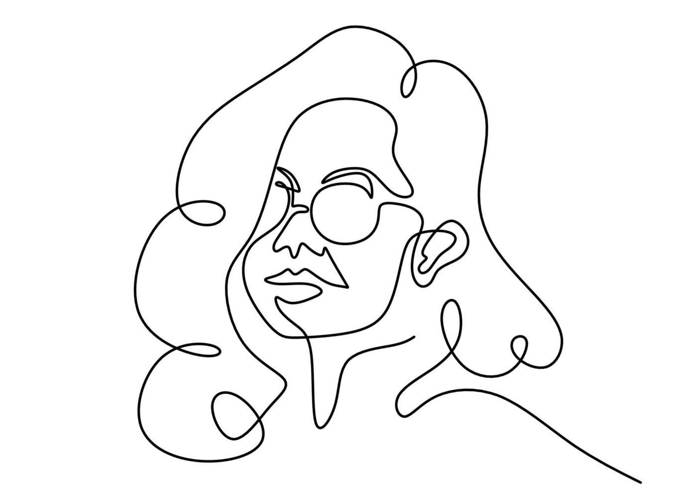 contínuo um desenho de linha de estilo clássico de retrato de mulher em óculos de sol. vetor
