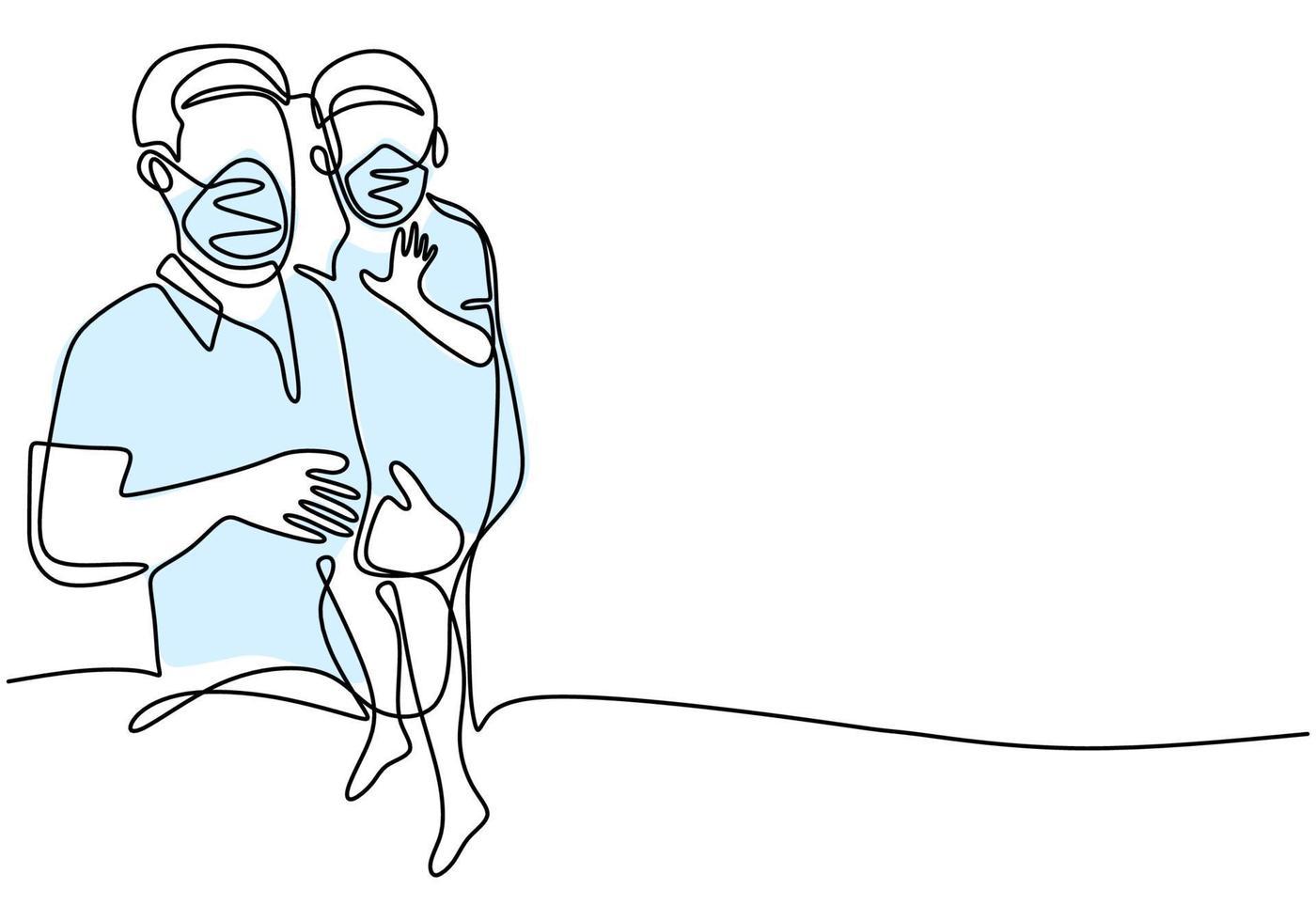 contínuo um desenho de linha pai e filho. papai e seu filho com máscara protetora para evitar a infecção do vírus. acostume-se a viver limpo e saudável em um novo normal. covid19. ilustração vetorial vetor