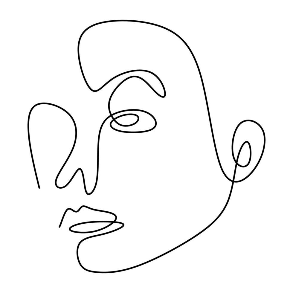 desenho de uma linha de rosto abstrato. conceito de design minimalista elegante moderno isolado no fundo branco. vetor