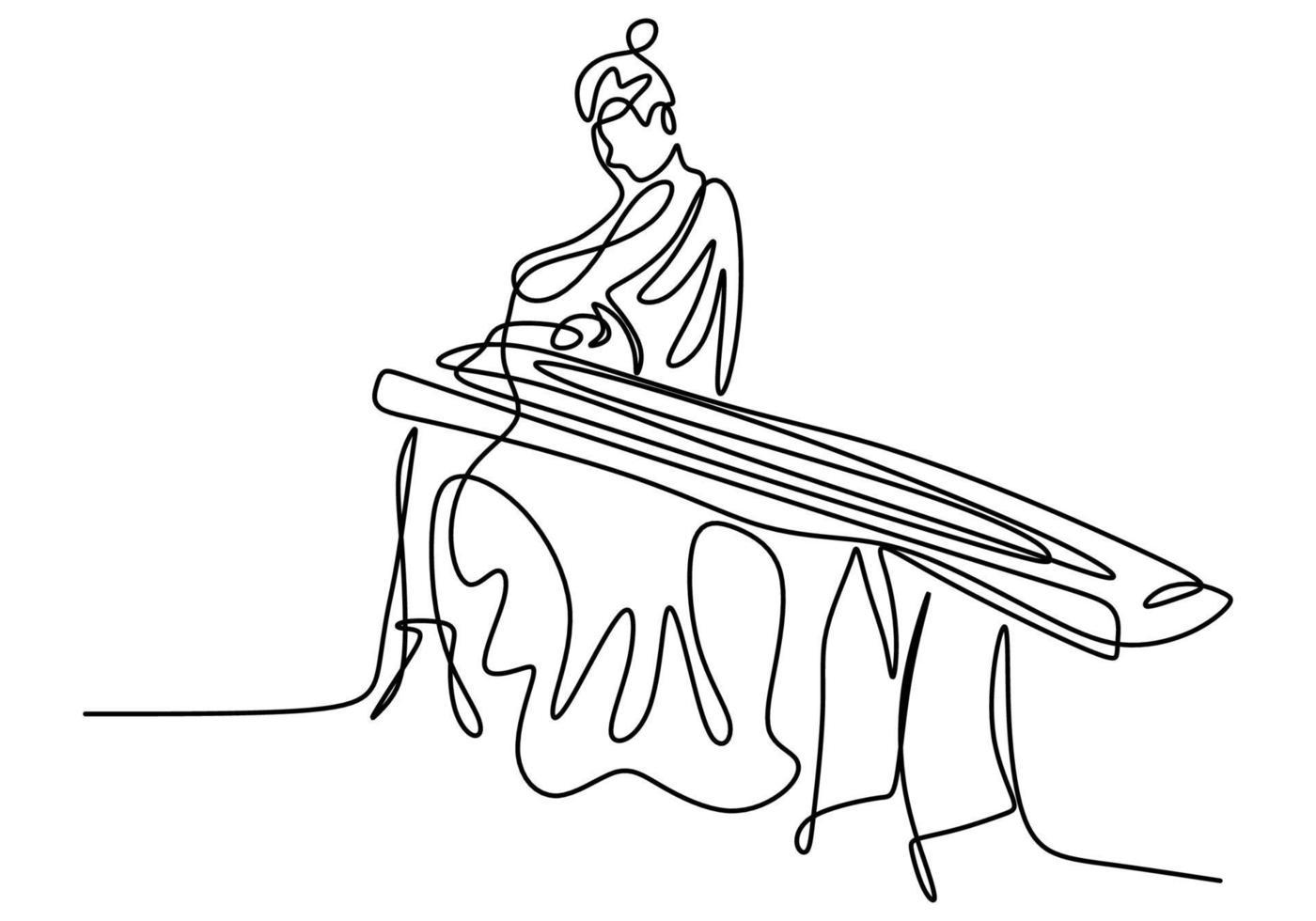 desenho de linha contínua de mulher com koto, música tradicional japonesa. uma linda garota vestindo um quimono está sentada enquanto toca um instrumento musical tradicional. vetor