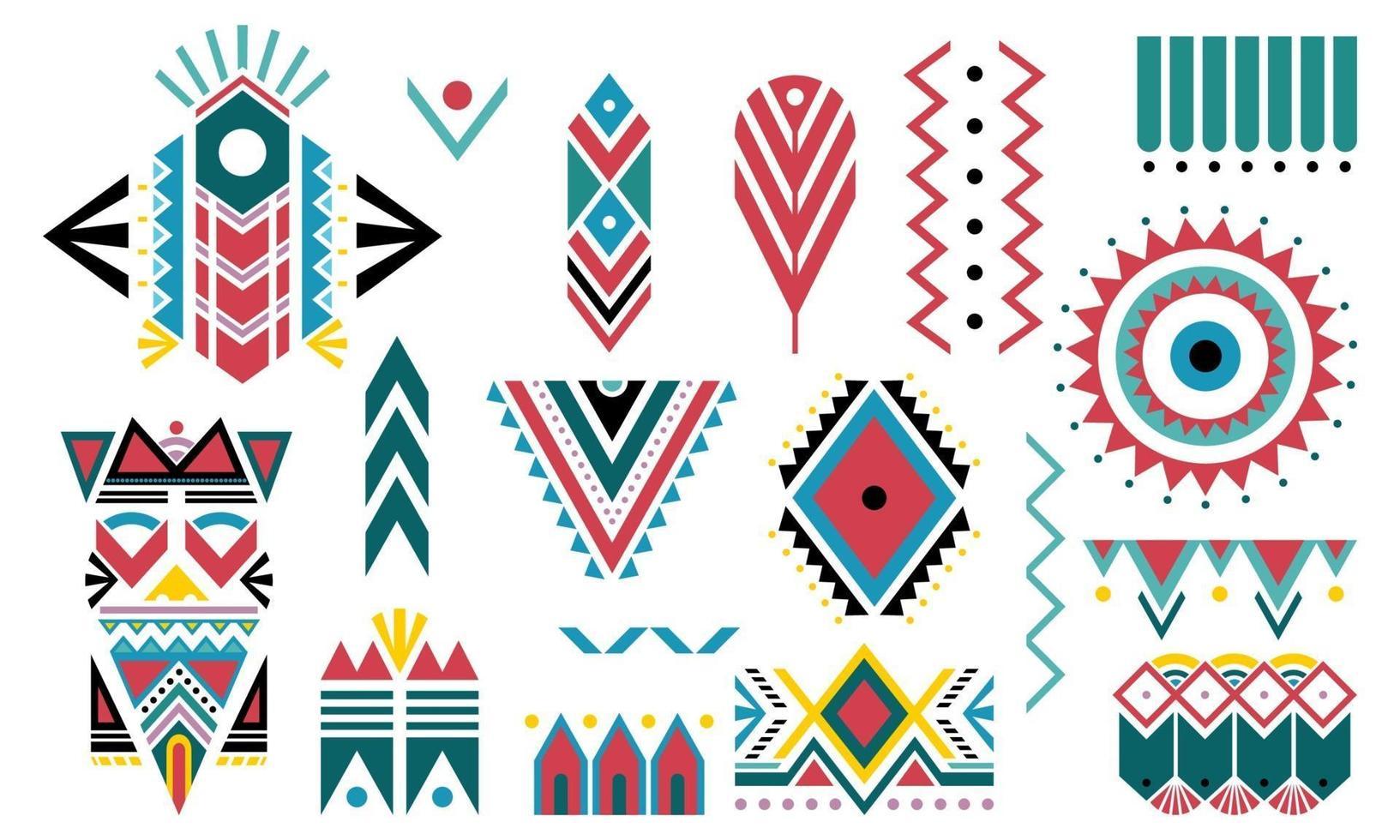 boho colorful. conjunto de elementos decorativos tribais isolado no fundo branco. vetor