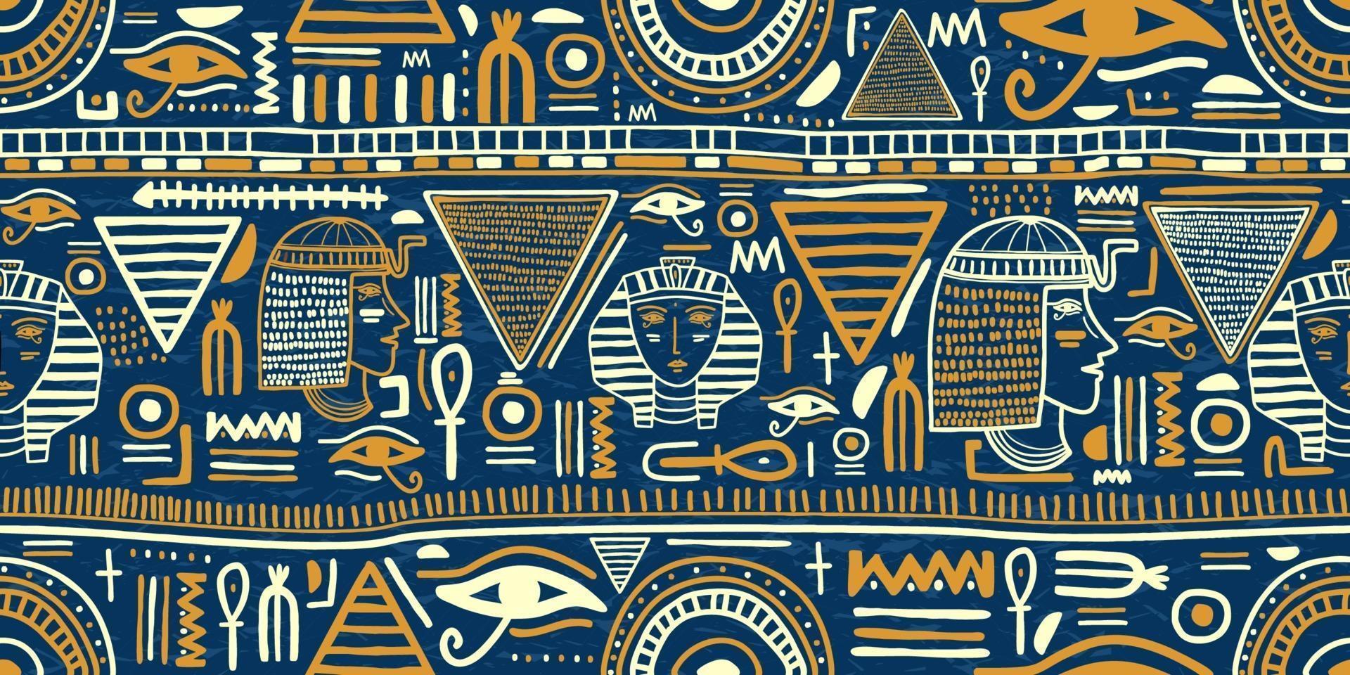 antigo ornamento egípcio tribal padrão sem emenda. arte tribal egípcio vintage étnico silhuetas padrão sem emenda na cor azul e ouro. vetor