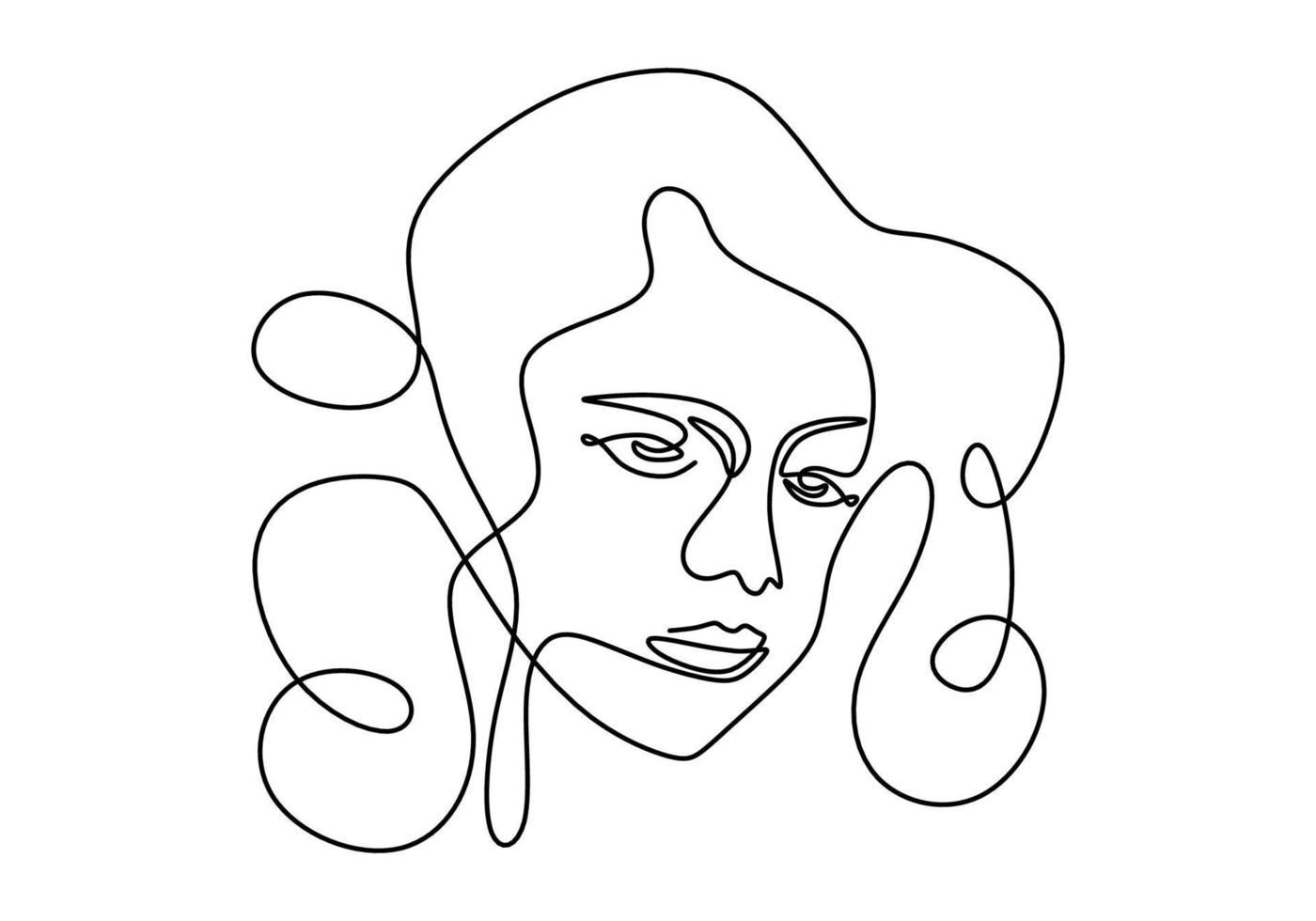 modelo de mulher jovem sorridente contínua de uma linha com cabelo encaracolado. logotipo de figura de beleza feminina isolado no fundo branco. amo seu estilo minimalista de auto-conceito. ilustração de desenho vetorial vetor