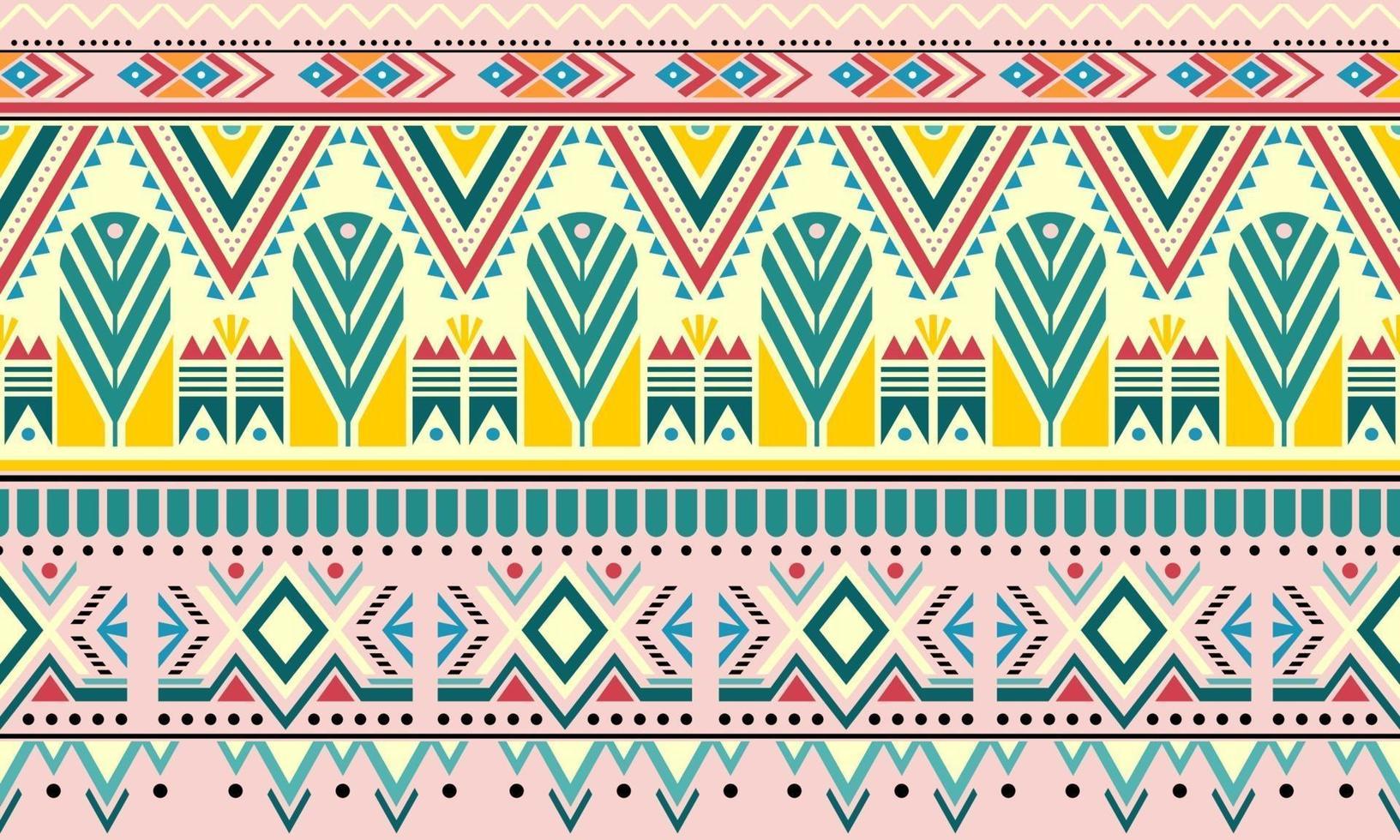 listrado vintage boho fashion style sem costura de fundo com elementos de forma tribal. listras coloridas feitas à mão brilhante tribal. ideal para design de tecido, impressão em papel e pano de fundo da web vetor