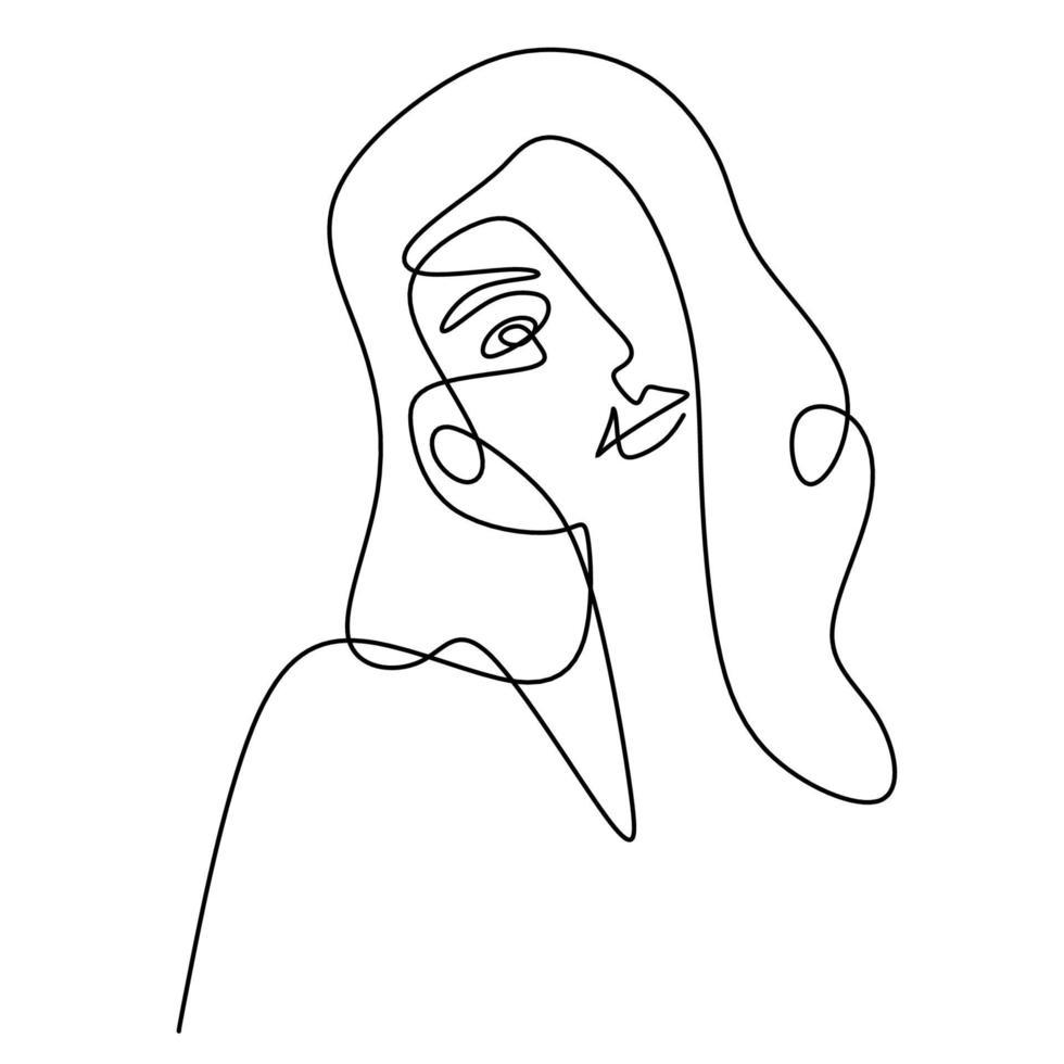 abstrato enfrenta mulheres bonitas. Perfil de rosto feminino linear de moda moderna em estilo de linha mínimo, contorno estético. vetor