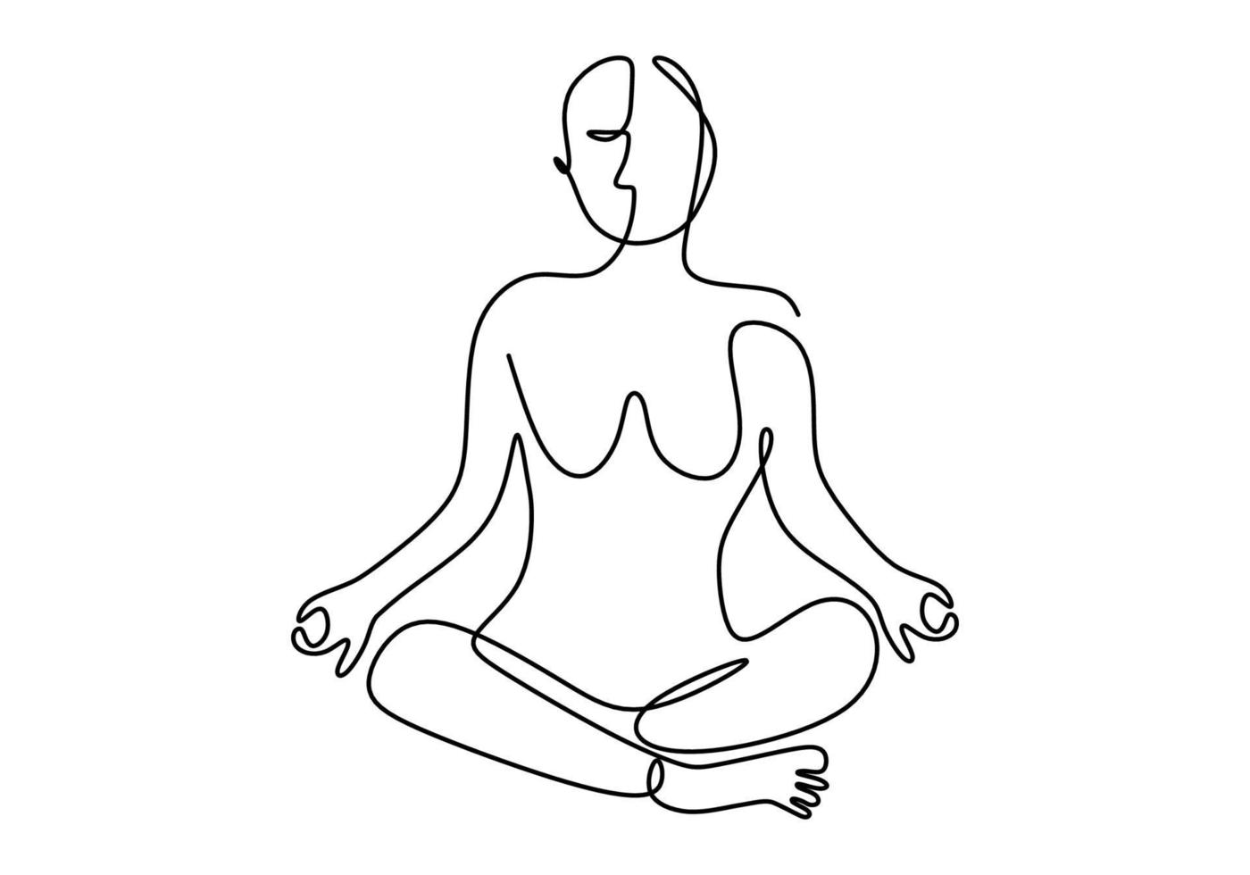 contínuo um desenho de linha de mulher fazendo exercícios em pose de ioga. jovem saudável sentada cruzando a perna com pose de lótus de ioga. vetor
