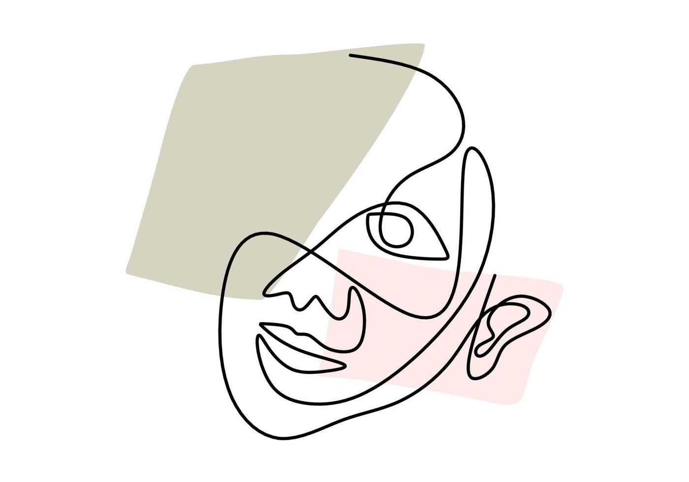 linha contínua, desenho de rostos, conceito minimalista de moda, ilustração vetorial. mulher rosto abstrato desenhado à mão isolado no fundo branco. retrato de uma mulher em estilo abstrato moderno vetor