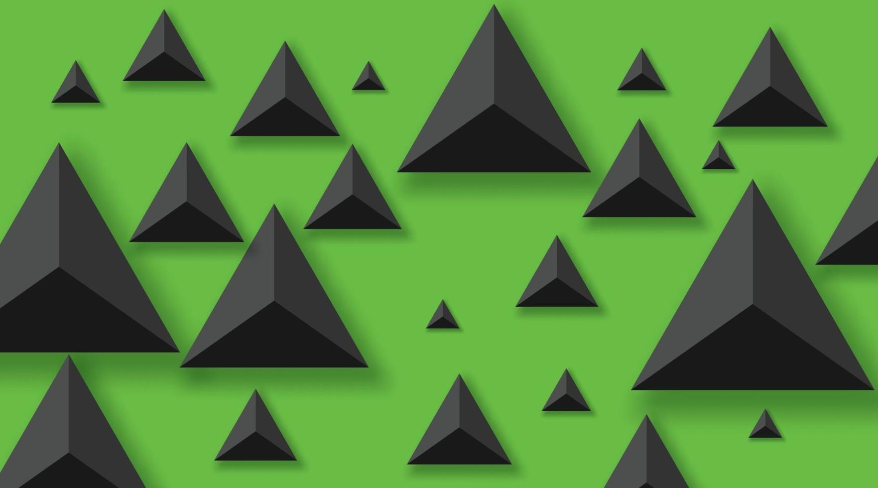 fundo abstrato com triângulos pretos. realista e 3D. ilustração vetorial sobre fundo verde. vetor