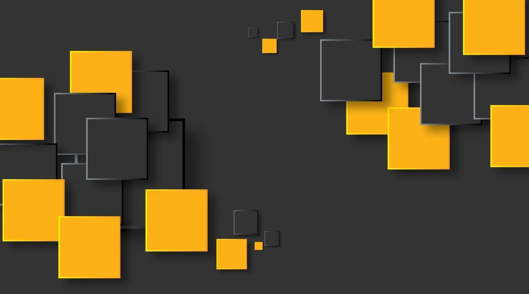 quadrados laranja e pretos abstraem design de bandeira de tecnologia. fundo geométrico vetorial vetor