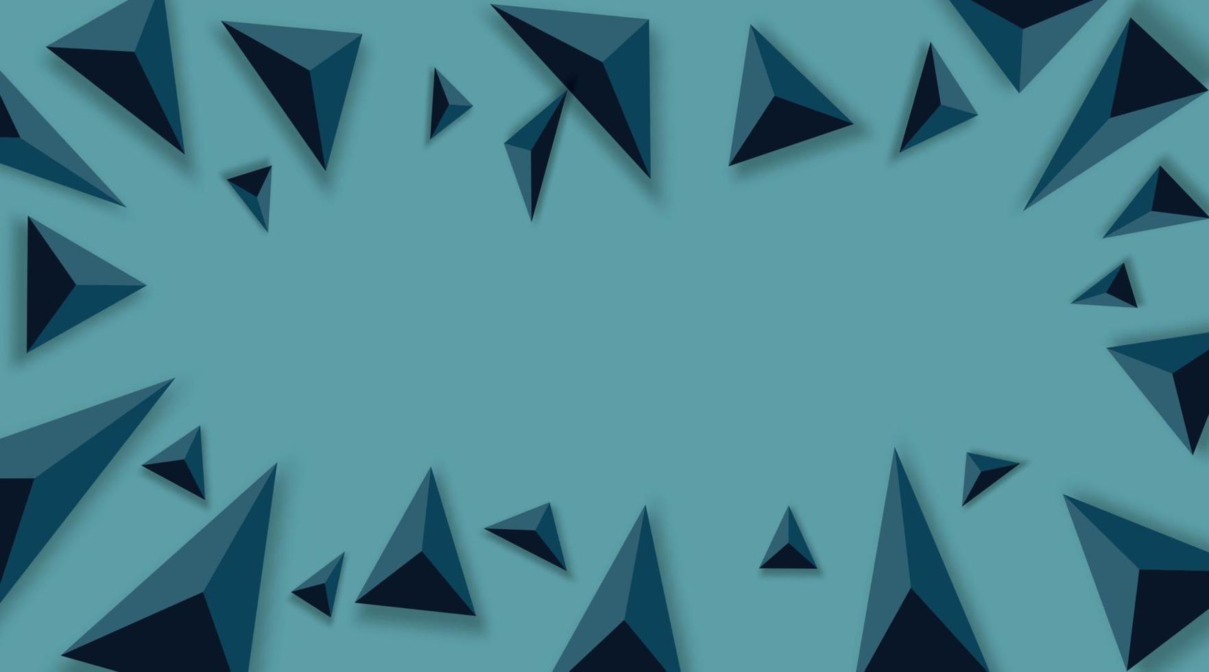 fundo abstrato com triângulos pretos. realista e 3D. ilustração vetorial sobre fundo azul. vetor