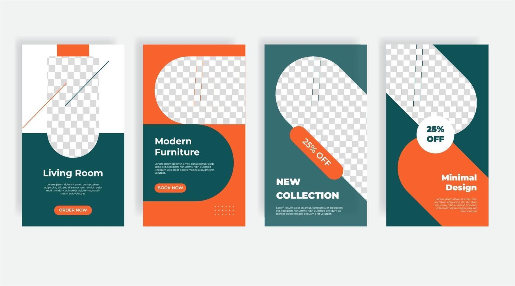banner de modelo de postagem de mídia social design de interiores vetor