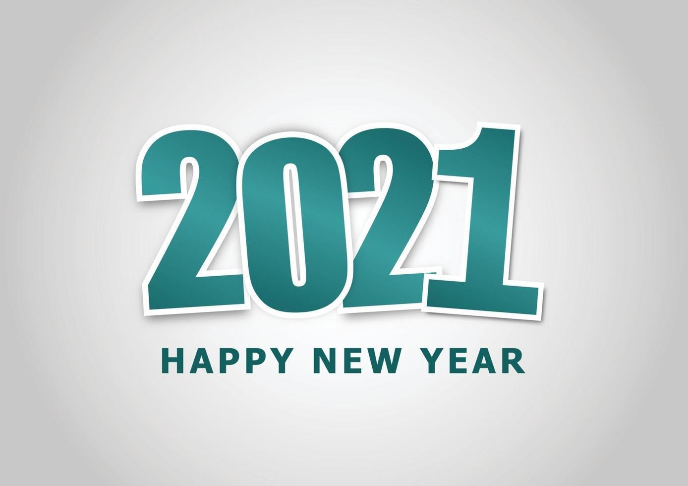 feliz ano novo 2021 com tema verde vetor