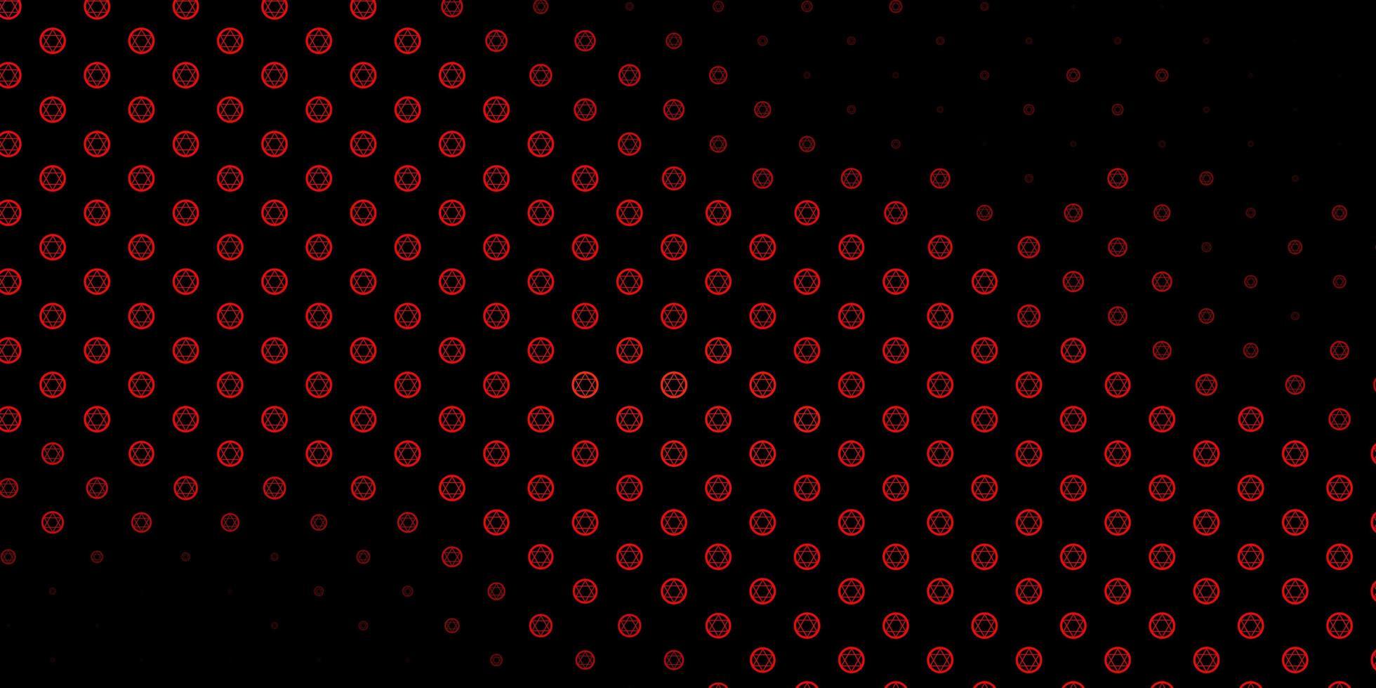 pano de fundo vector vermelho escuro com símbolos de mistério.