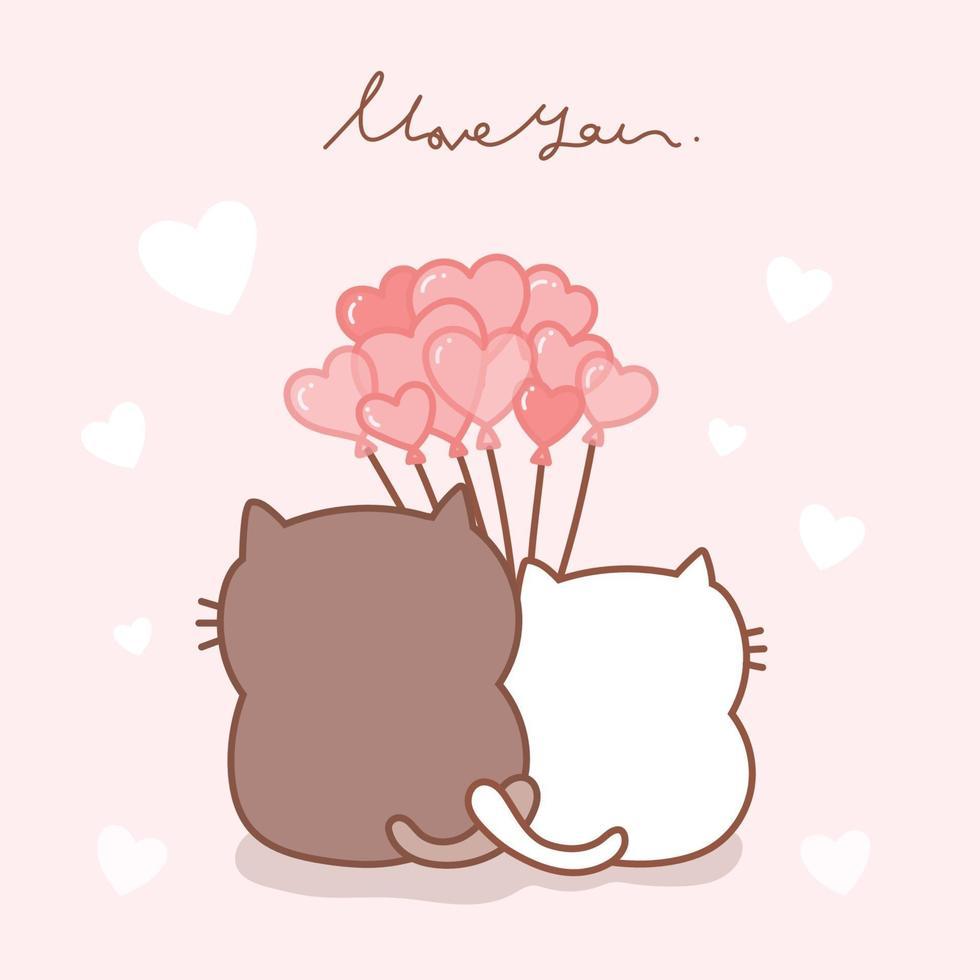 gato bonito casal cartoon mão desenhada com balões rosa. vetor