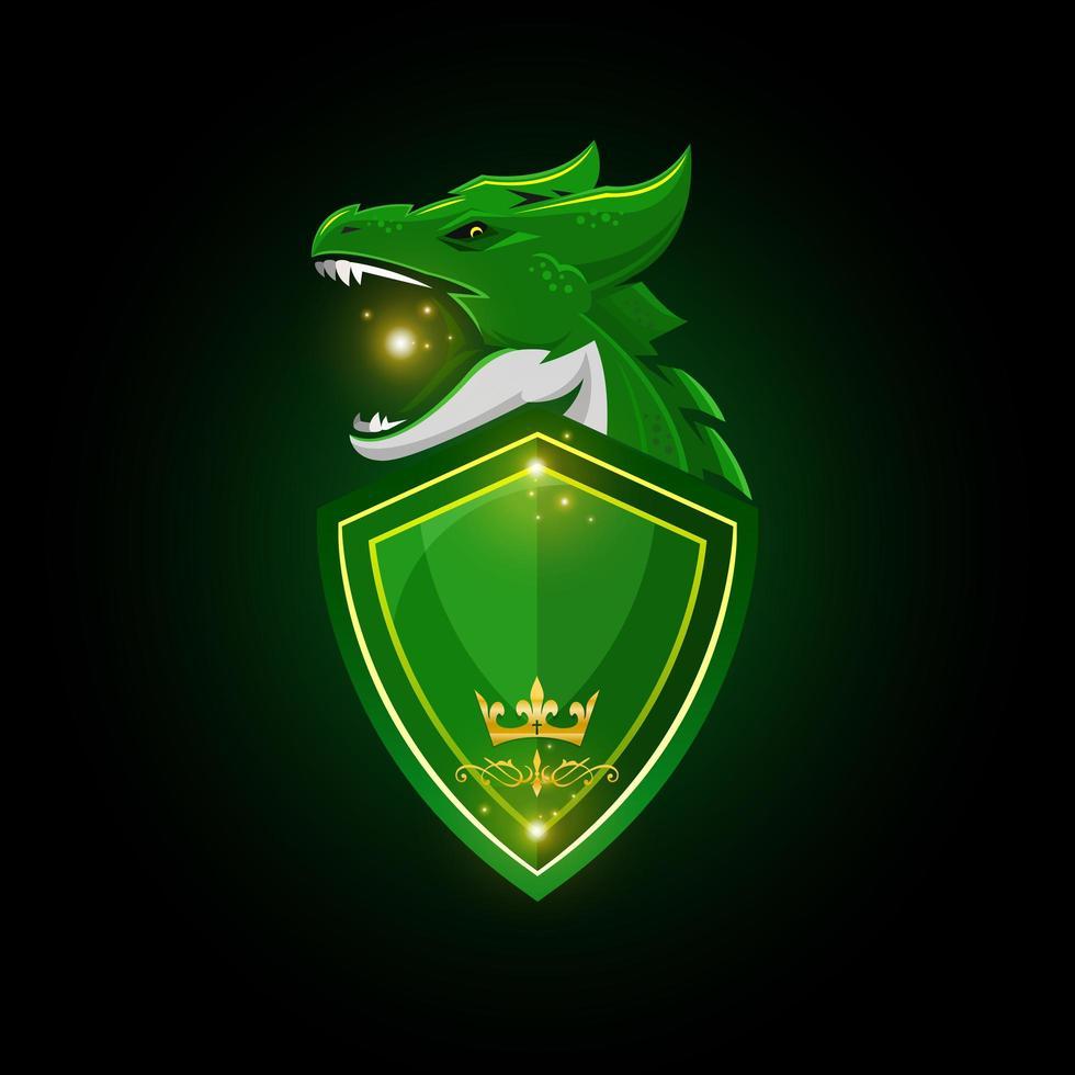 dragão verde e mascote do escudo vetor