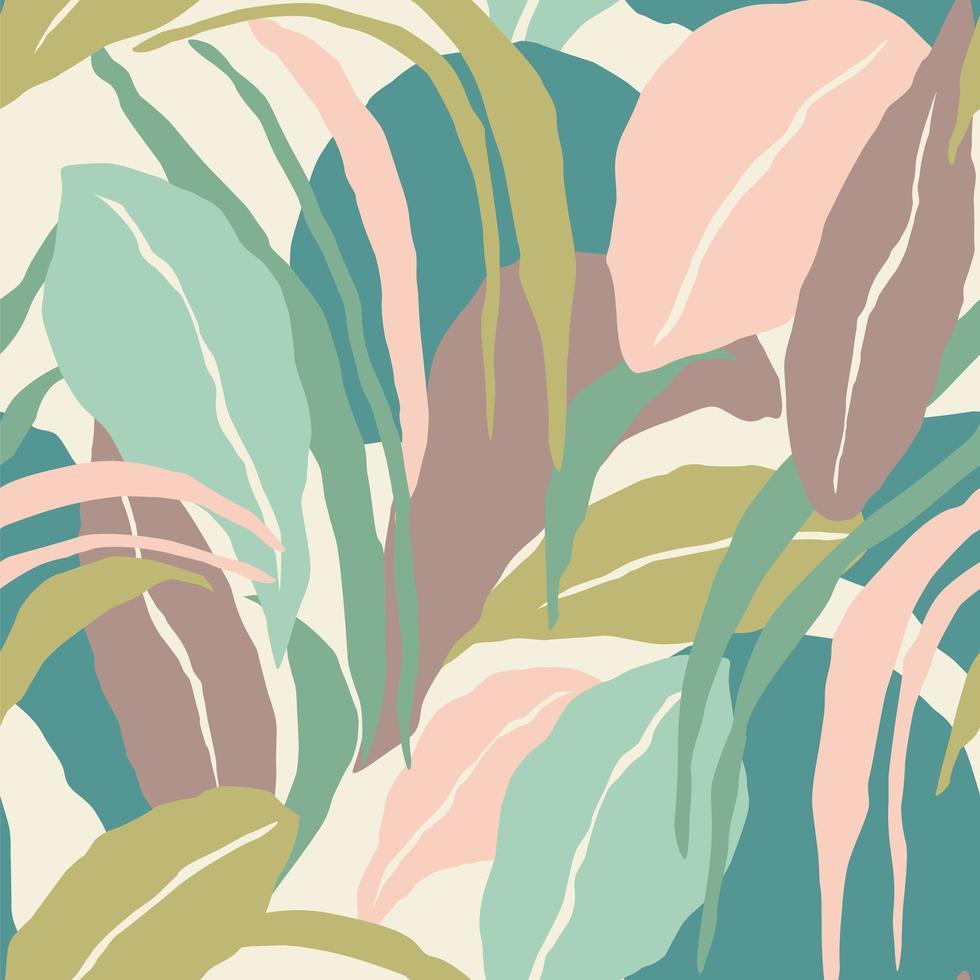 padrão sem emenda artístico com folhas abstratas. design moderno. vetor