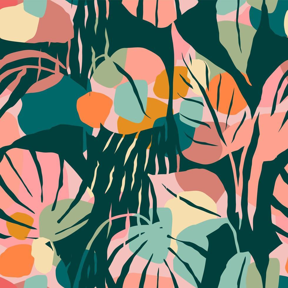padrão sem emenda artístico com folhas abstratas. design moderno vetor