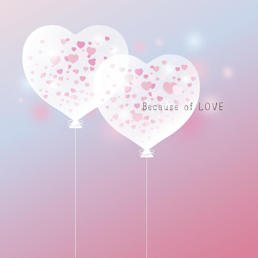Amo o conceito de design de balão de coração para dia dos namorados e ilustração vetorial de cartão de casamento vetor