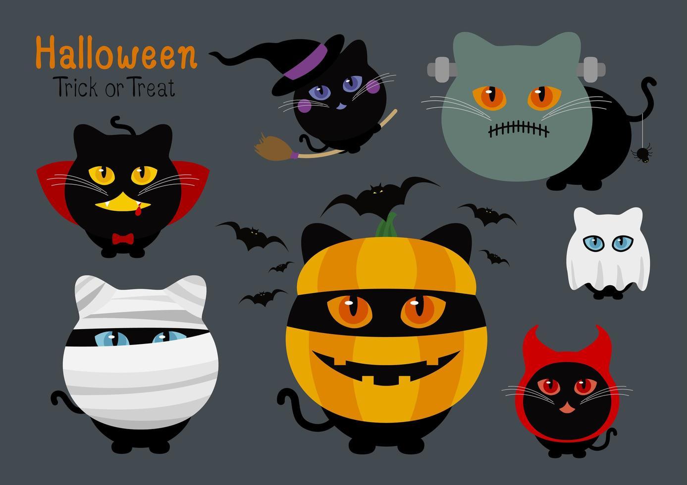 conjunto de fantasia de gatos de halloween vetor