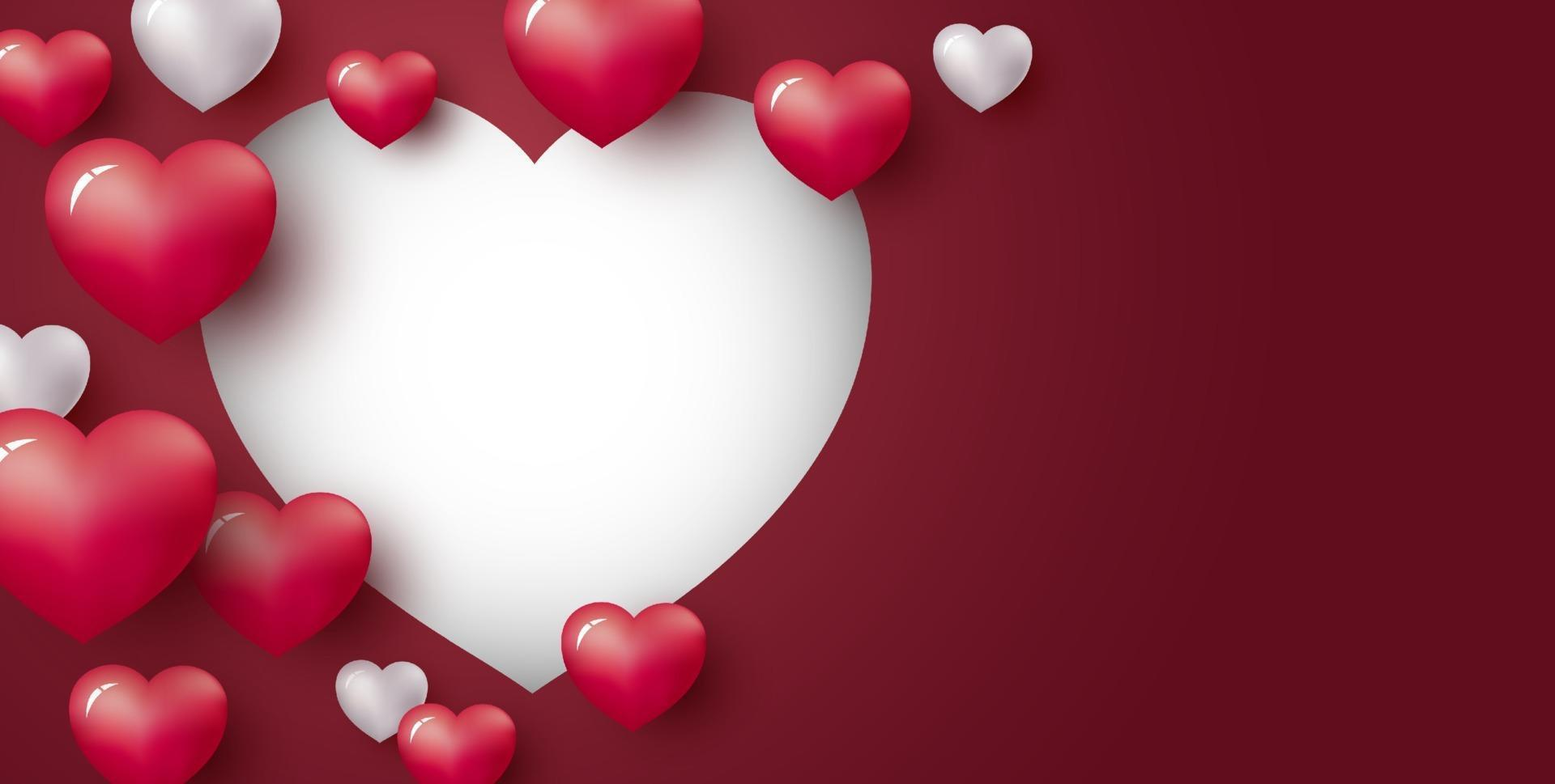 amo o projeto de conceito de coração em fundo vermelho com espaço de cópia dia dos namorados e ilustração vetorial de casamento vetor