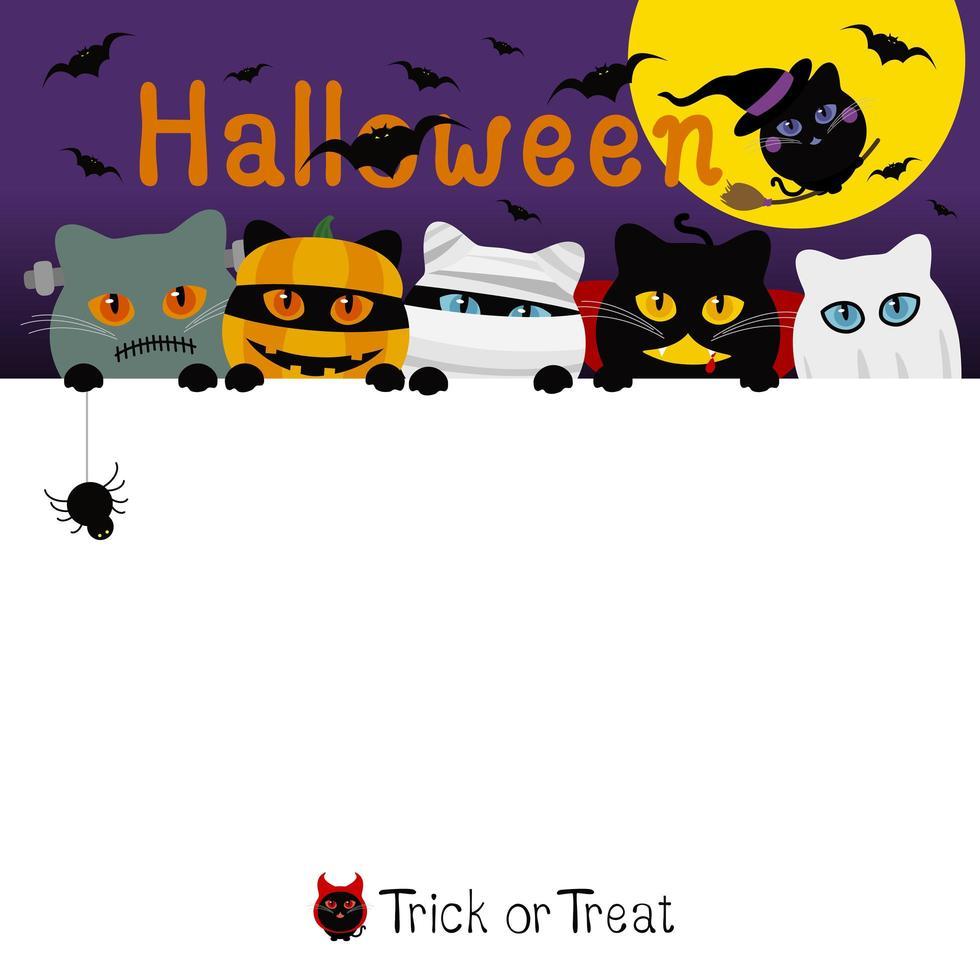 desenho de banner de fantasia de gatos de halloween com espaço de cópia vetor