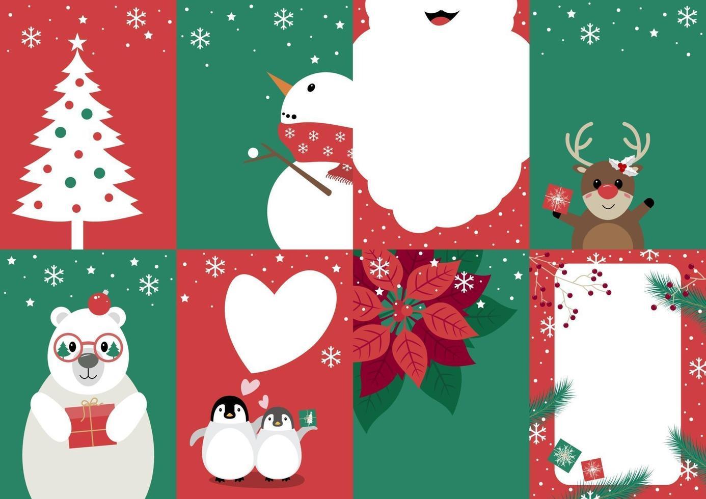 conjunto de ilustração vetorial de design de cartão de natal vetor