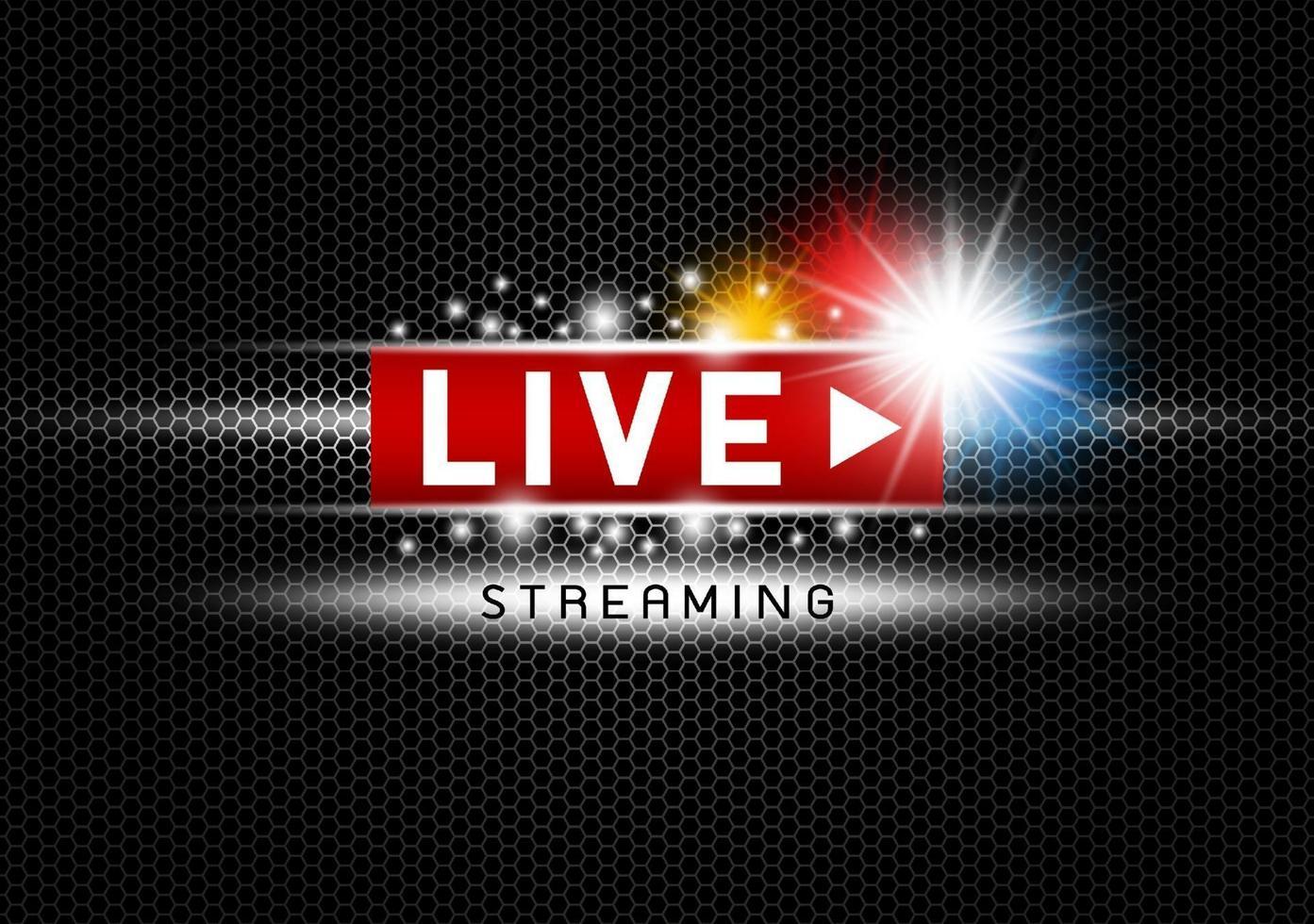 streaming ao vivo com luzes na ilustração vetorial de fundo de textura de metal preto vetor