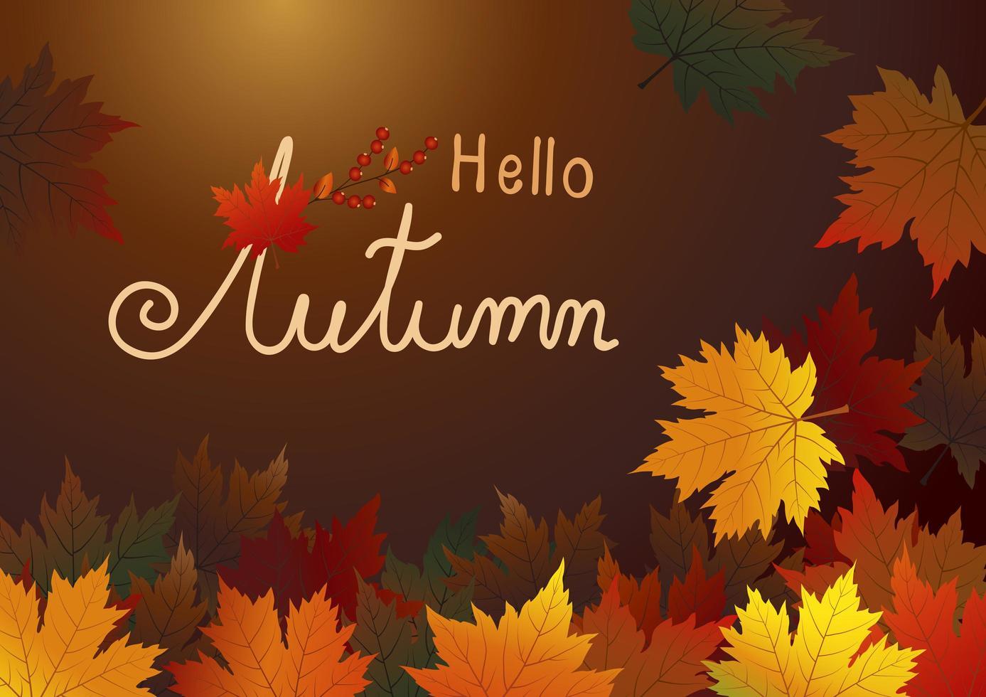 folhas de bordo de outono em fundo marrom vetor