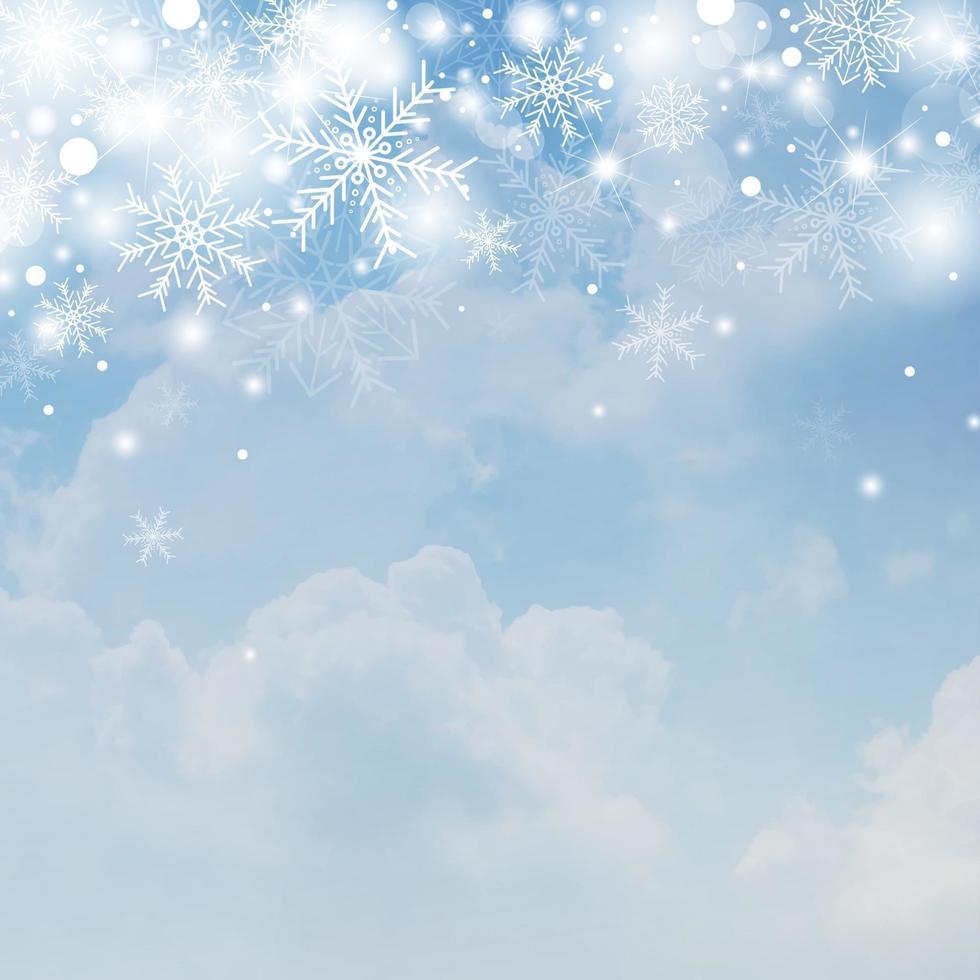 Projeto de conceito de fundo de Natal de floco de neve branco e neve no céu com ilustração vetorial de nuvem vetor