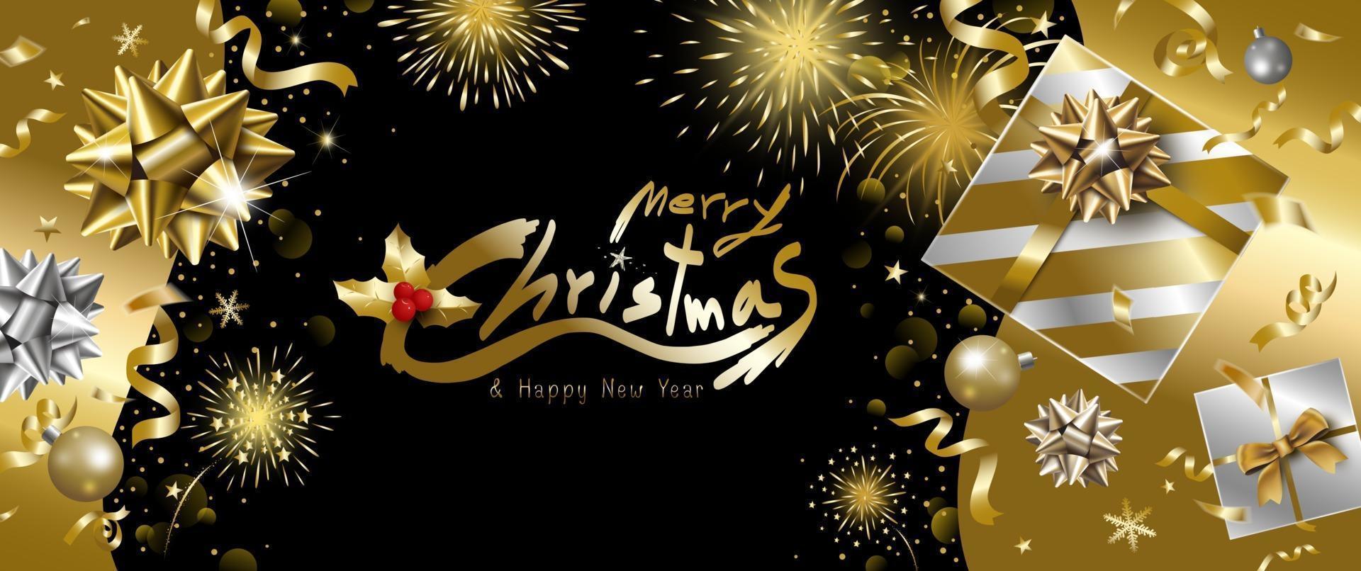 Feliz Natal e feliz ano novo desenho de banner de caixa de presente de luxo com fita caindo e ilustração vetorial de fundo de fogos de artifício vetor