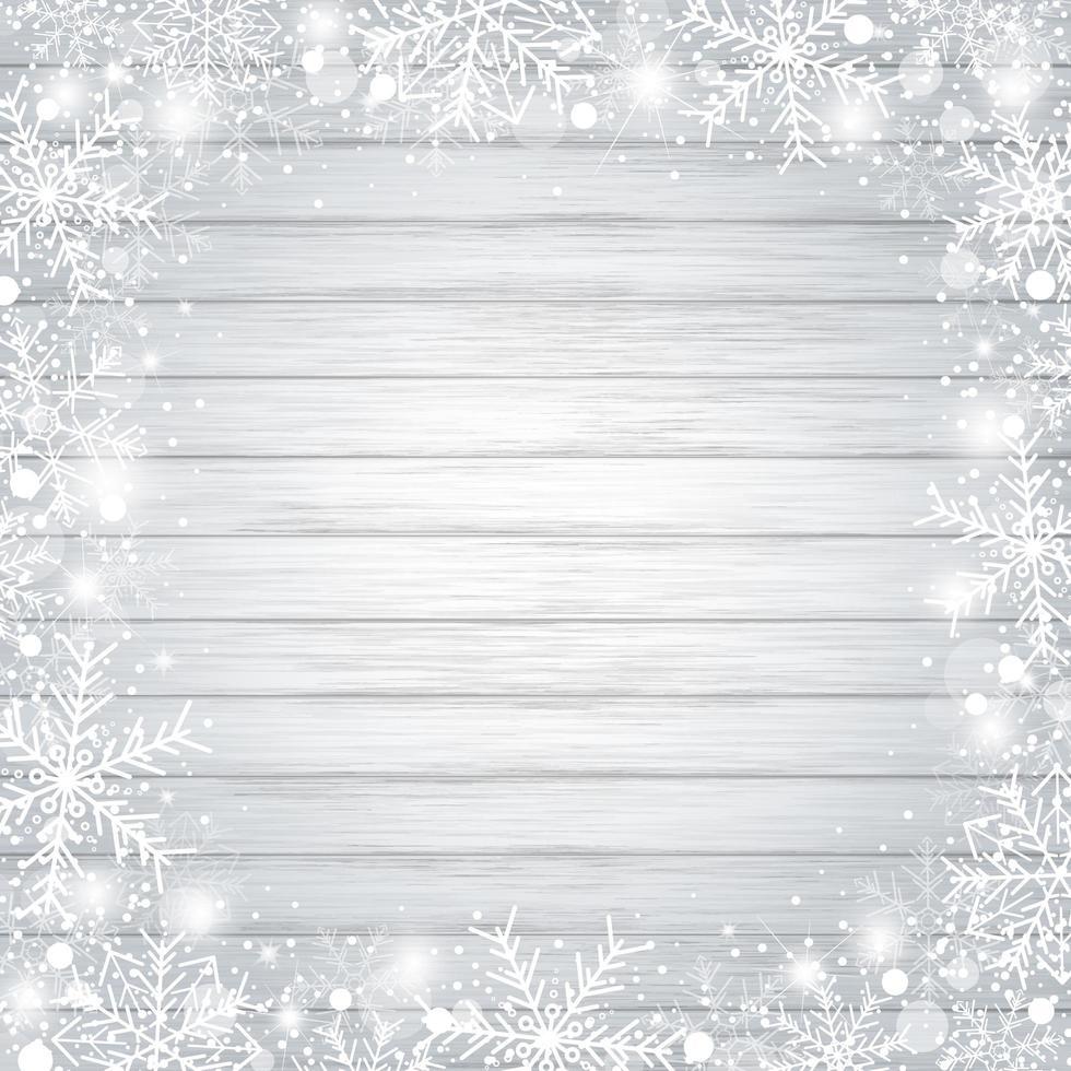 desenho de fundo de natal de floco de neve na madeira vetor