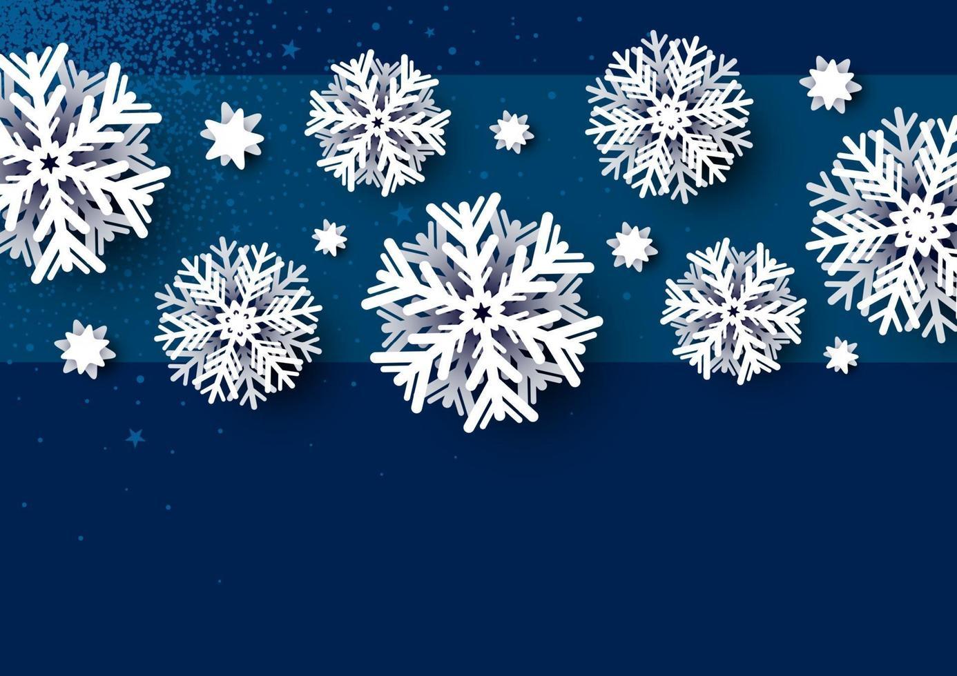 design de cartão de natal de floco de neve branco em ilustração vetorial de fundo azul vetor