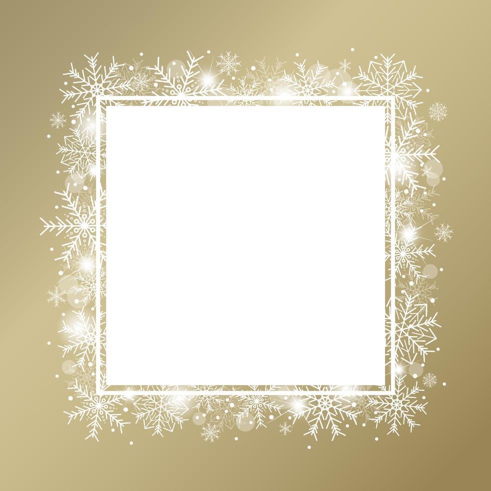 Projeto de conceito de fundo de Natal de floco de neve branco e neve com ilustração vetorial de cópia vetor