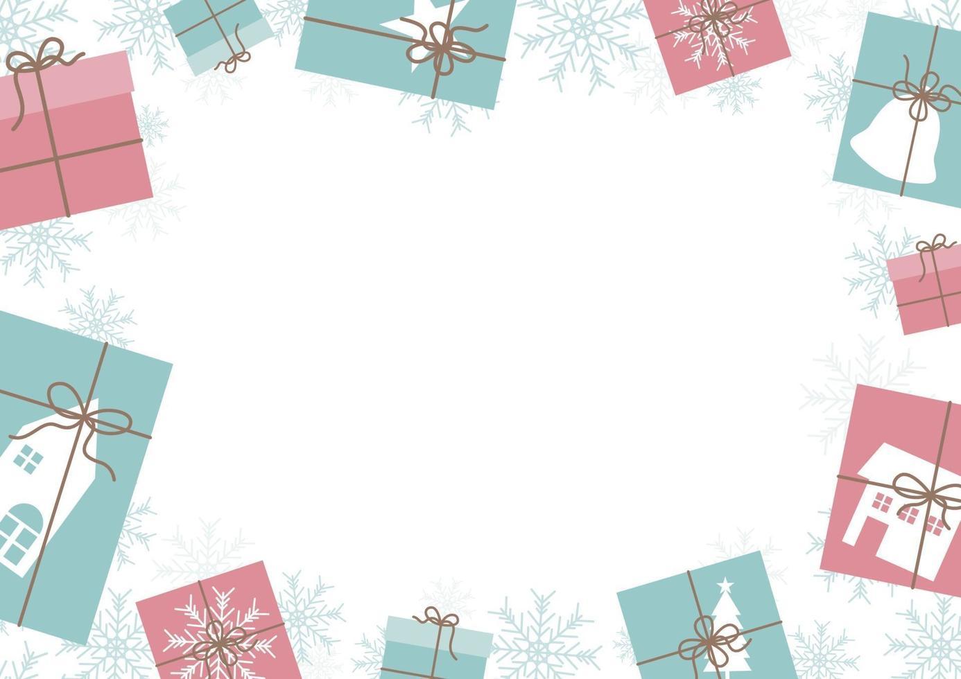 desenho de banner de natal de caixa de presente e fundo de floco de neve com ilustração vetorial de espaço de cópia vetor